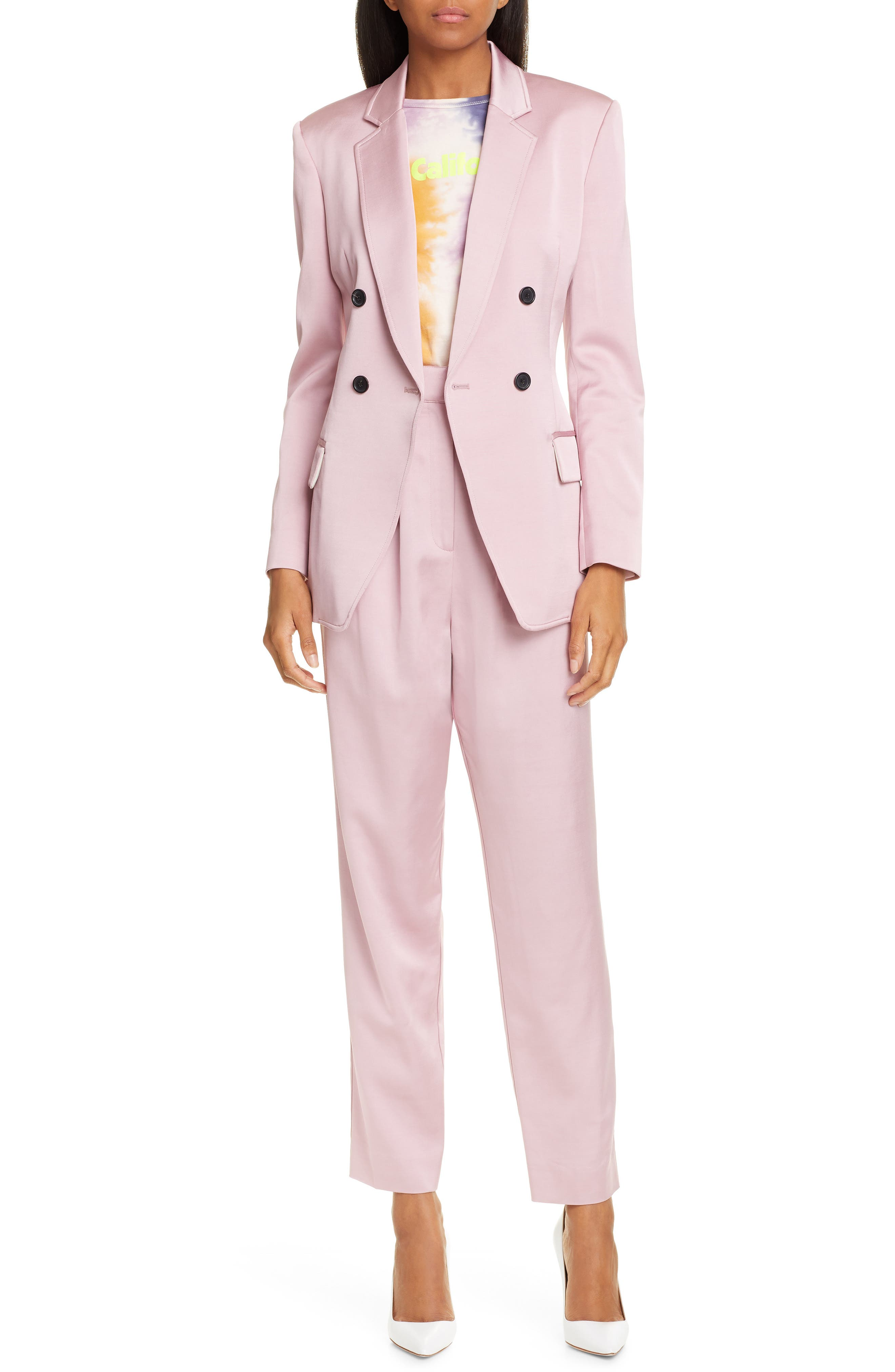 A.L.C.,                             Sedgewick Double Breasted Suiting Jacket,                             Alternate thumbnail 7, color,                             DUSTY ROSE