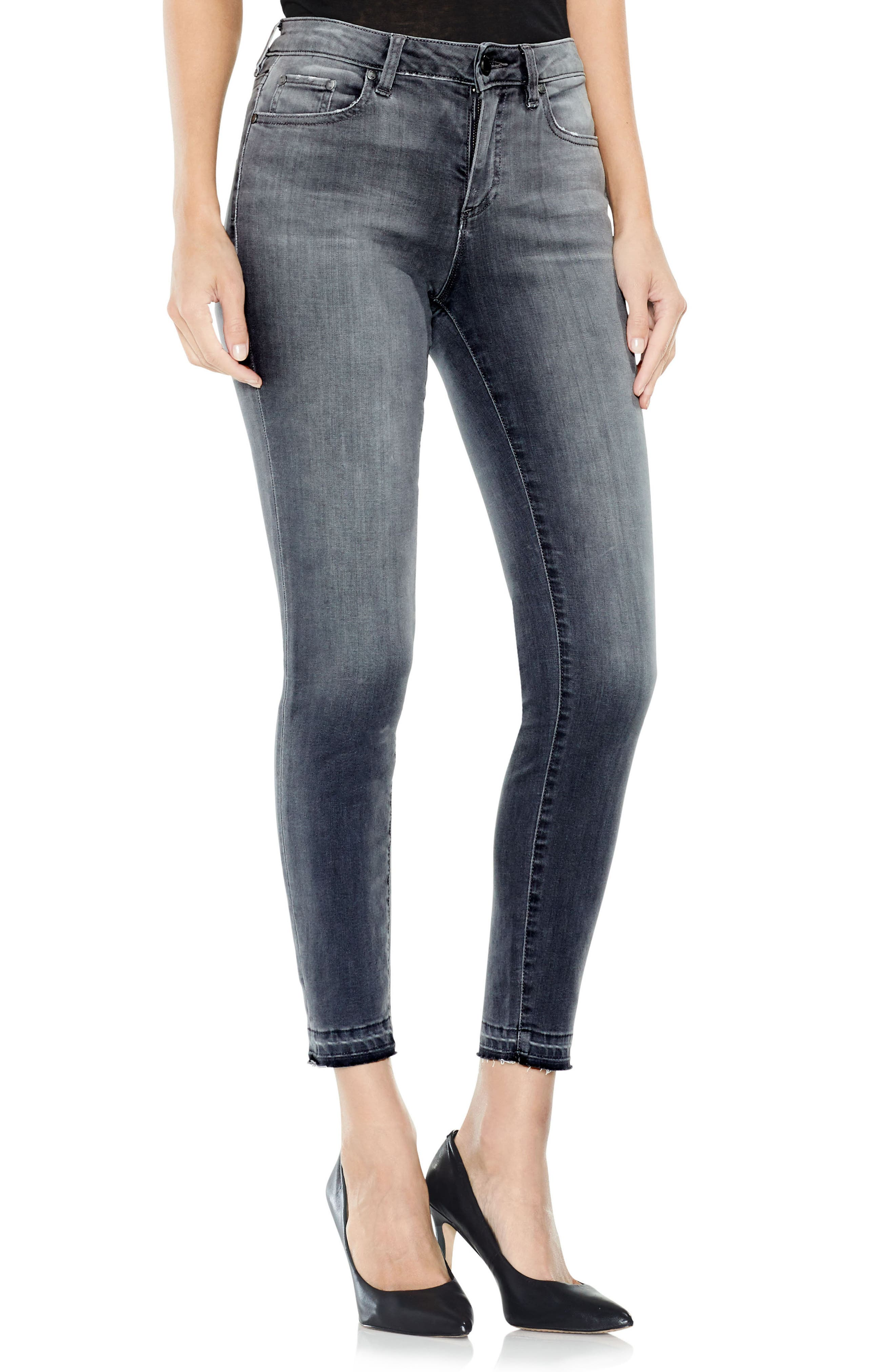 Two by Vince Camuto Grey Released Hem Jeans,                             Main thumbnail 1, color,                             COBBLESTONE