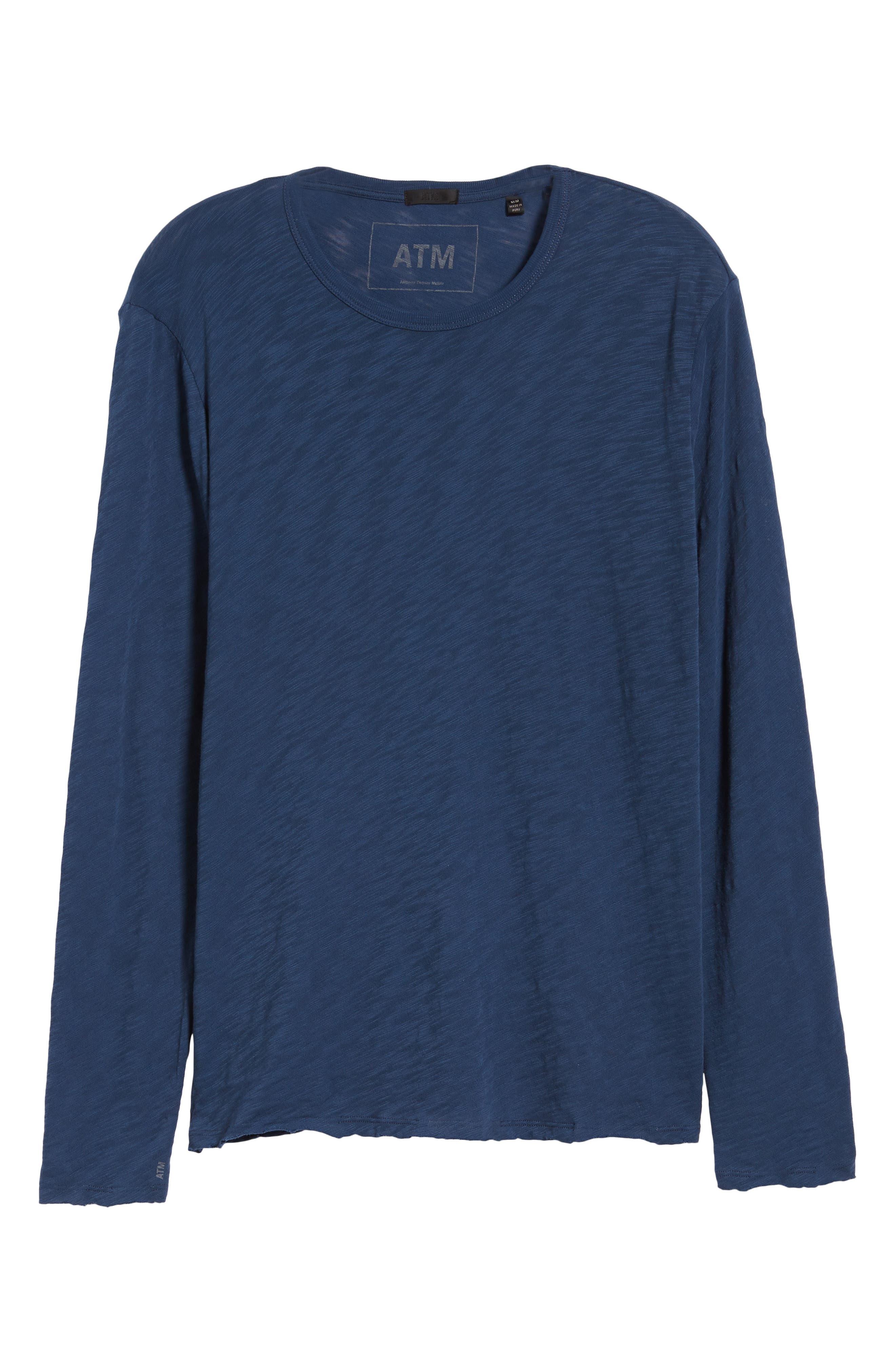 Destroyed Long Sleeve T-Shirt,                             Alternate thumbnail 6, color,                             DEEP OCEAN