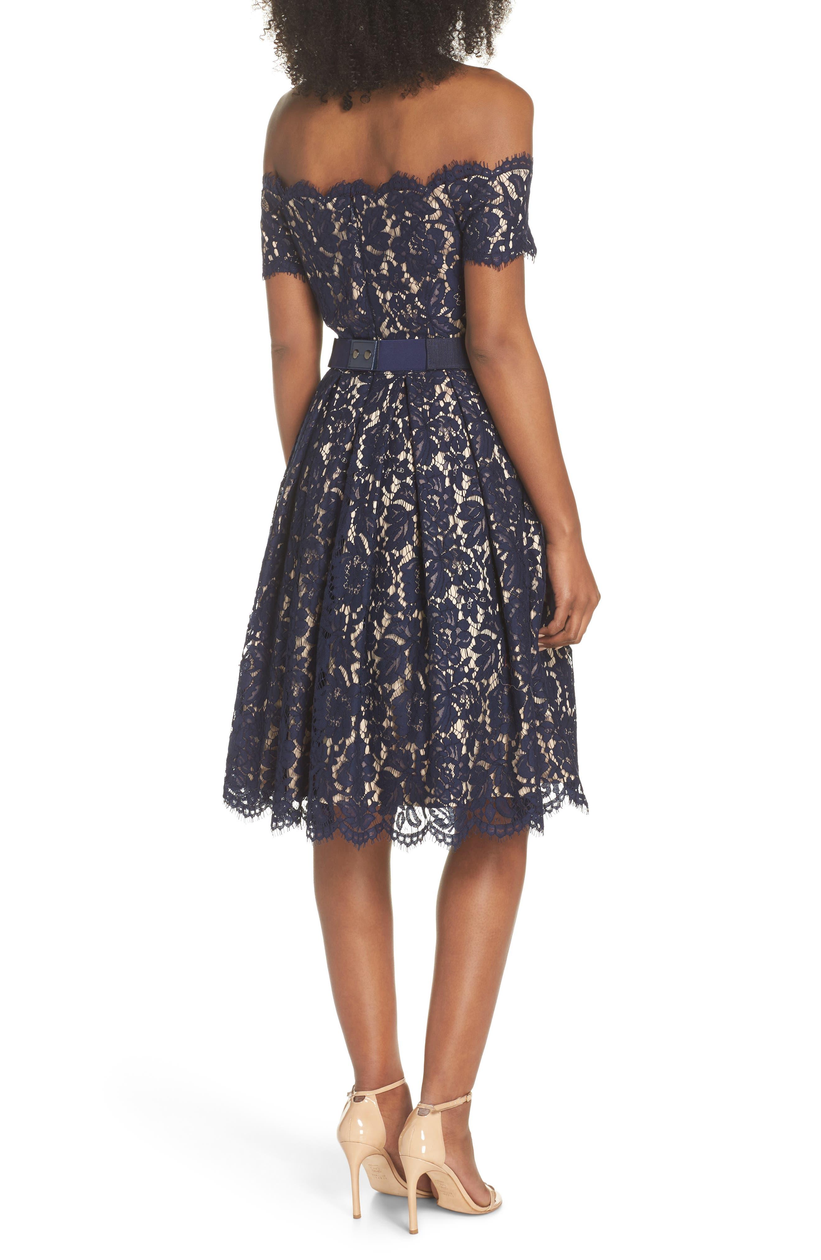 Embellished Lace Fit & Flare Dress,                             Alternate thumbnail 2, color,                             NAVY