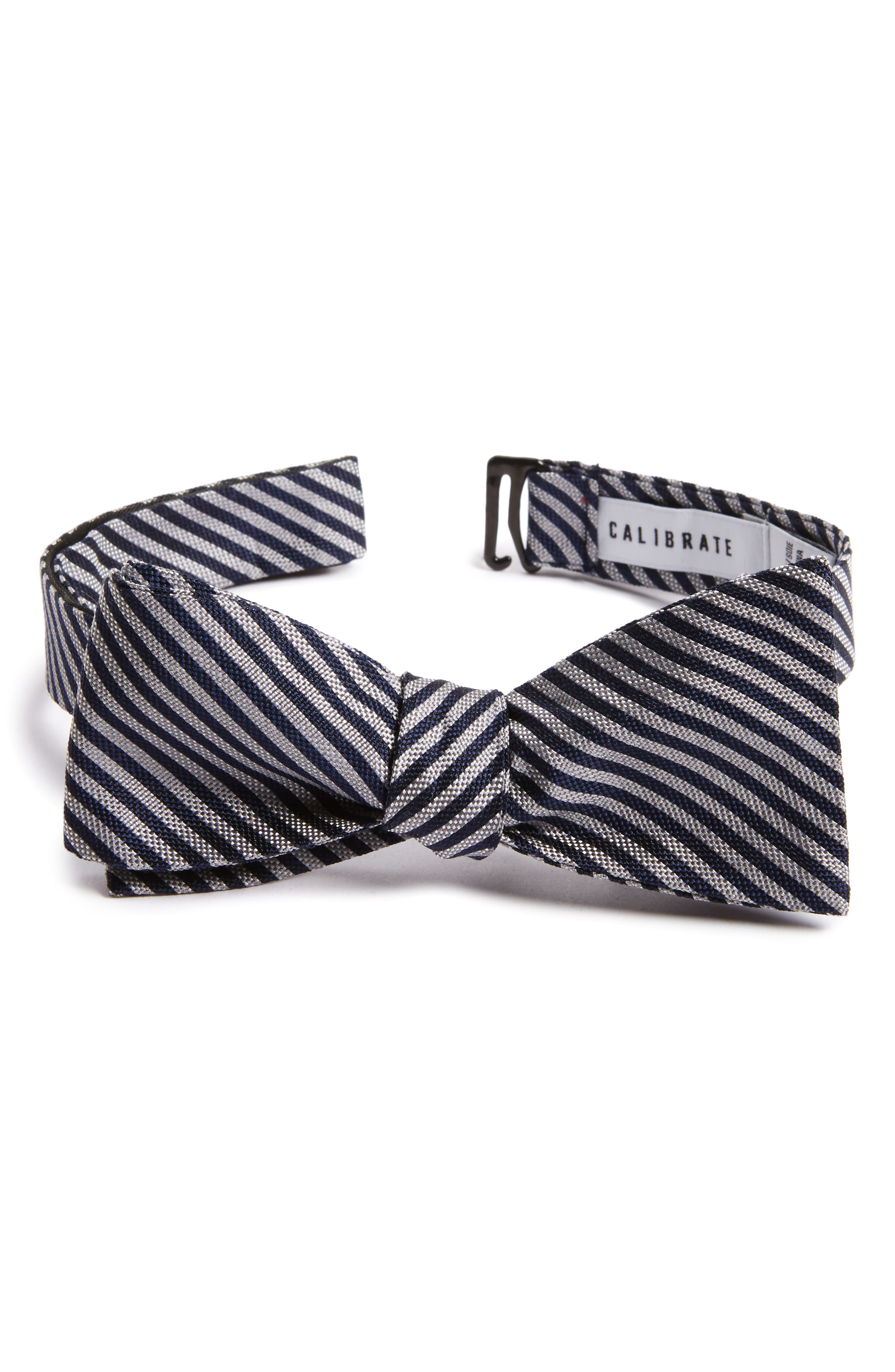 Micro Oxford Stripe Silk Bow Tie,                             Main thumbnail 1, color,                             020