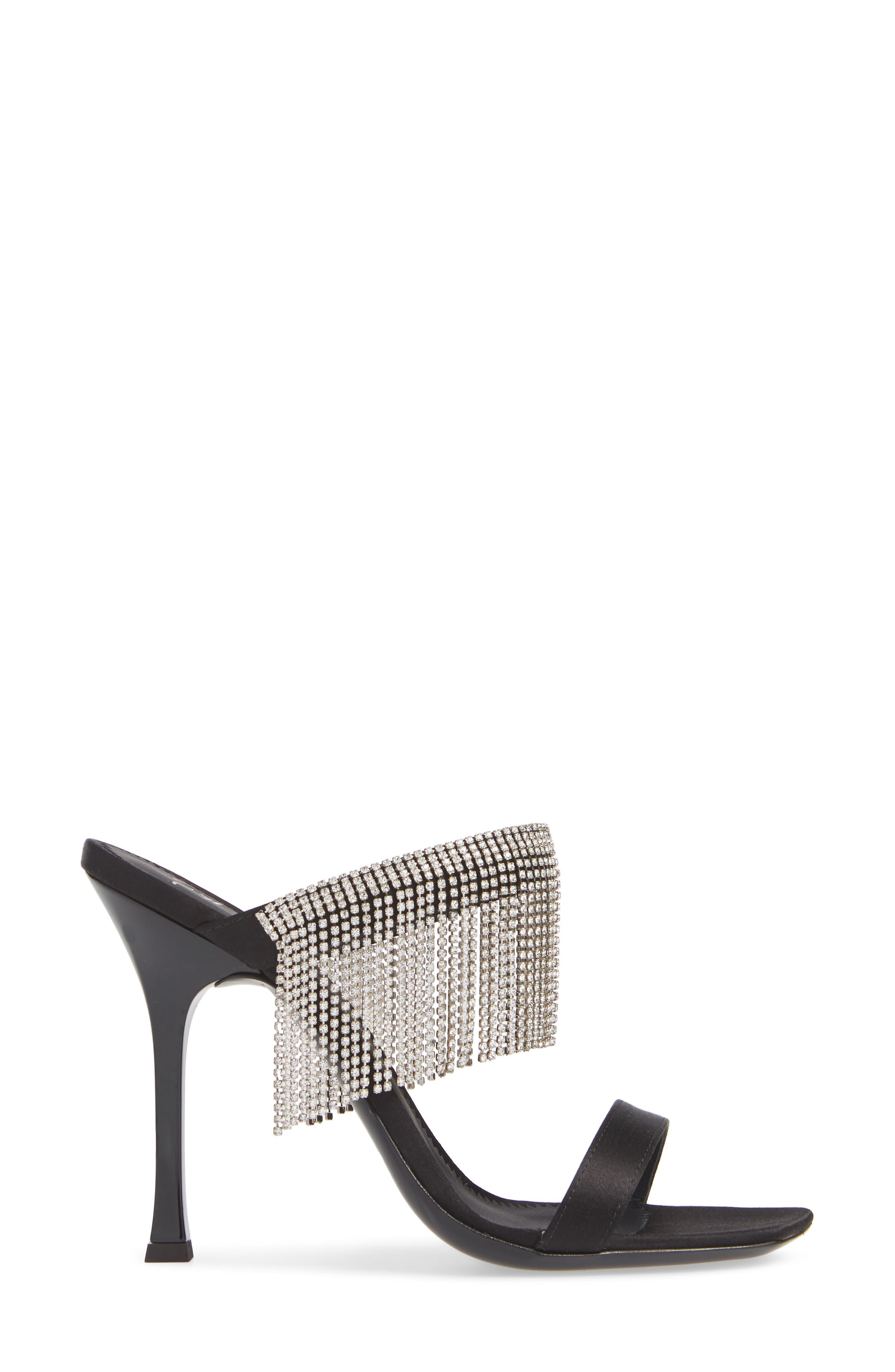 Swarovski Crystal Fringe Sandal,                             Alternate thumbnail 3, color,                             BLACK