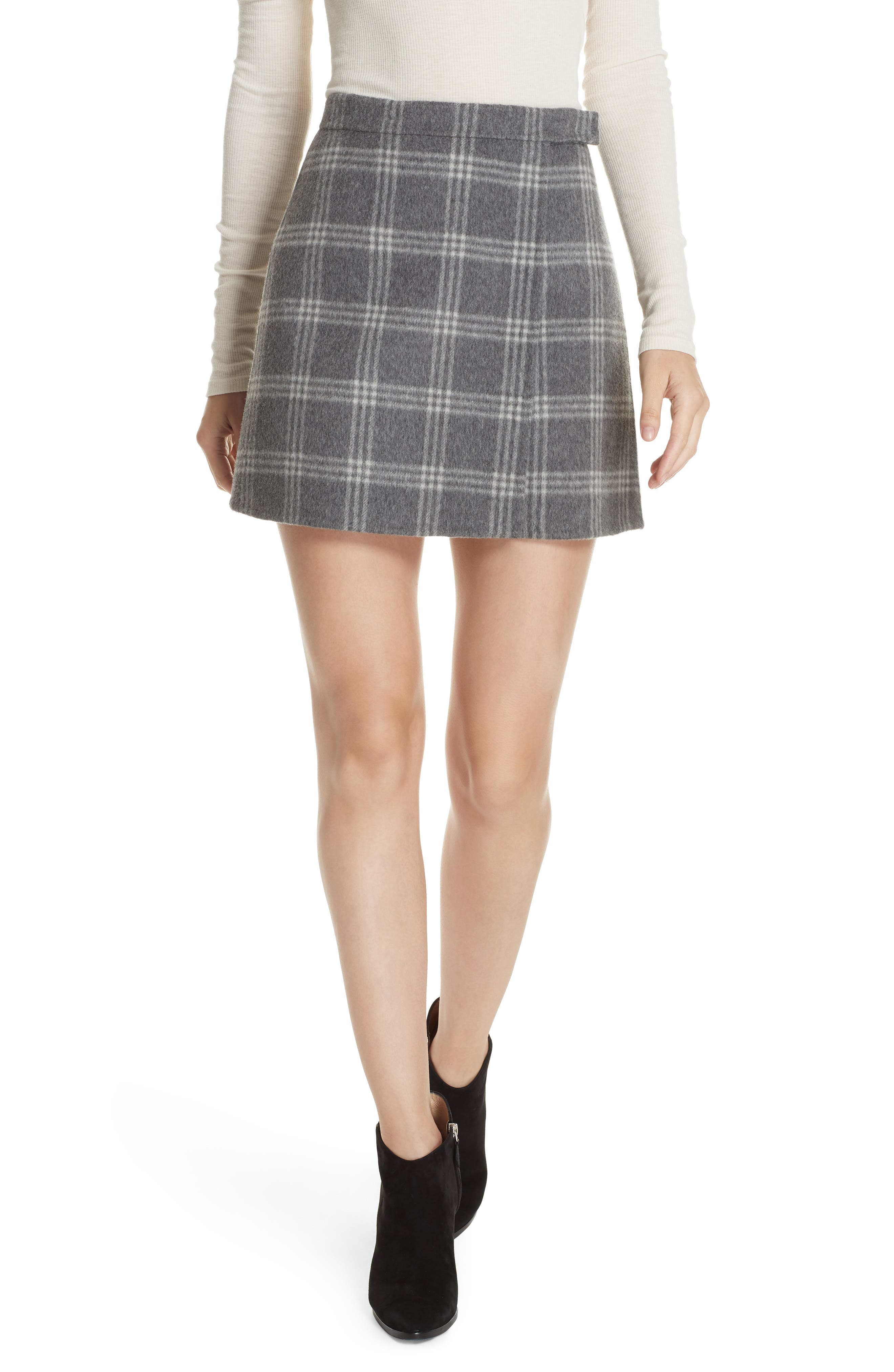 Westport Plaid Wool & Cashmere Miniskirt,                         Main,                         color, 022