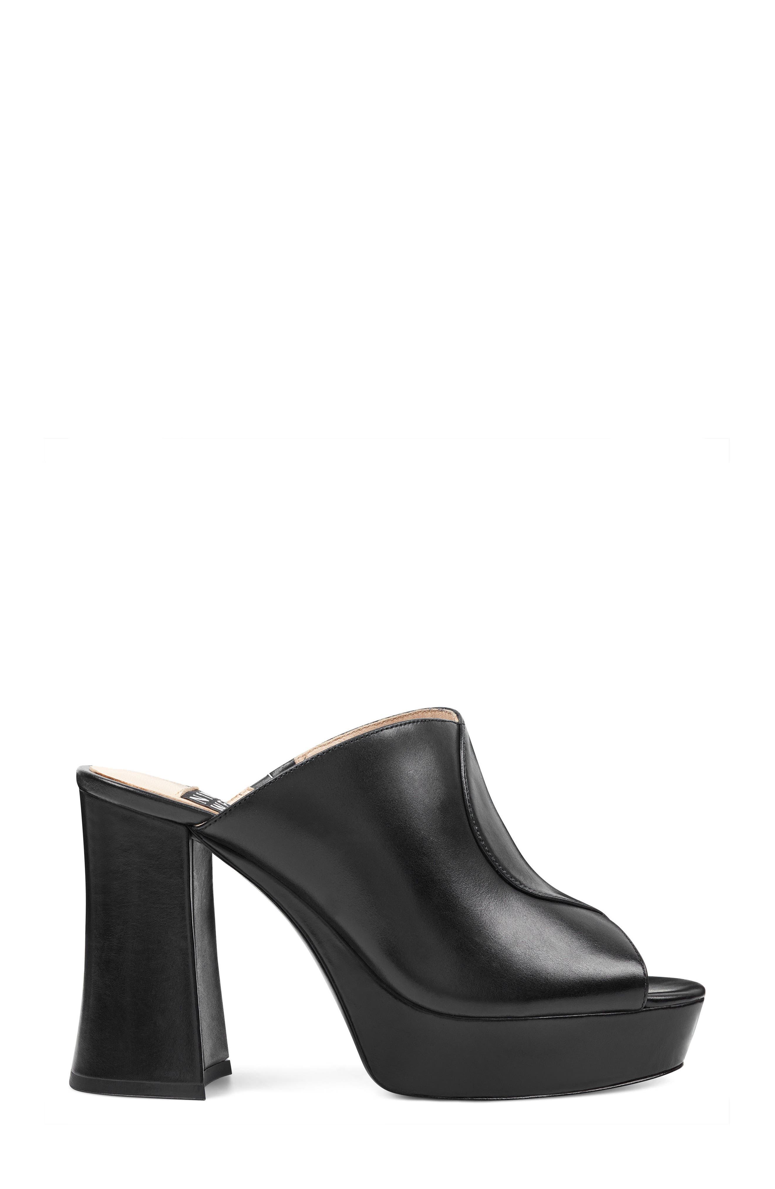 Lisana - 40th Anniversary Capsule Collection Platform Slide Sandal,                             Alternate thumbnail 3, color,                             BLACK LEATHER