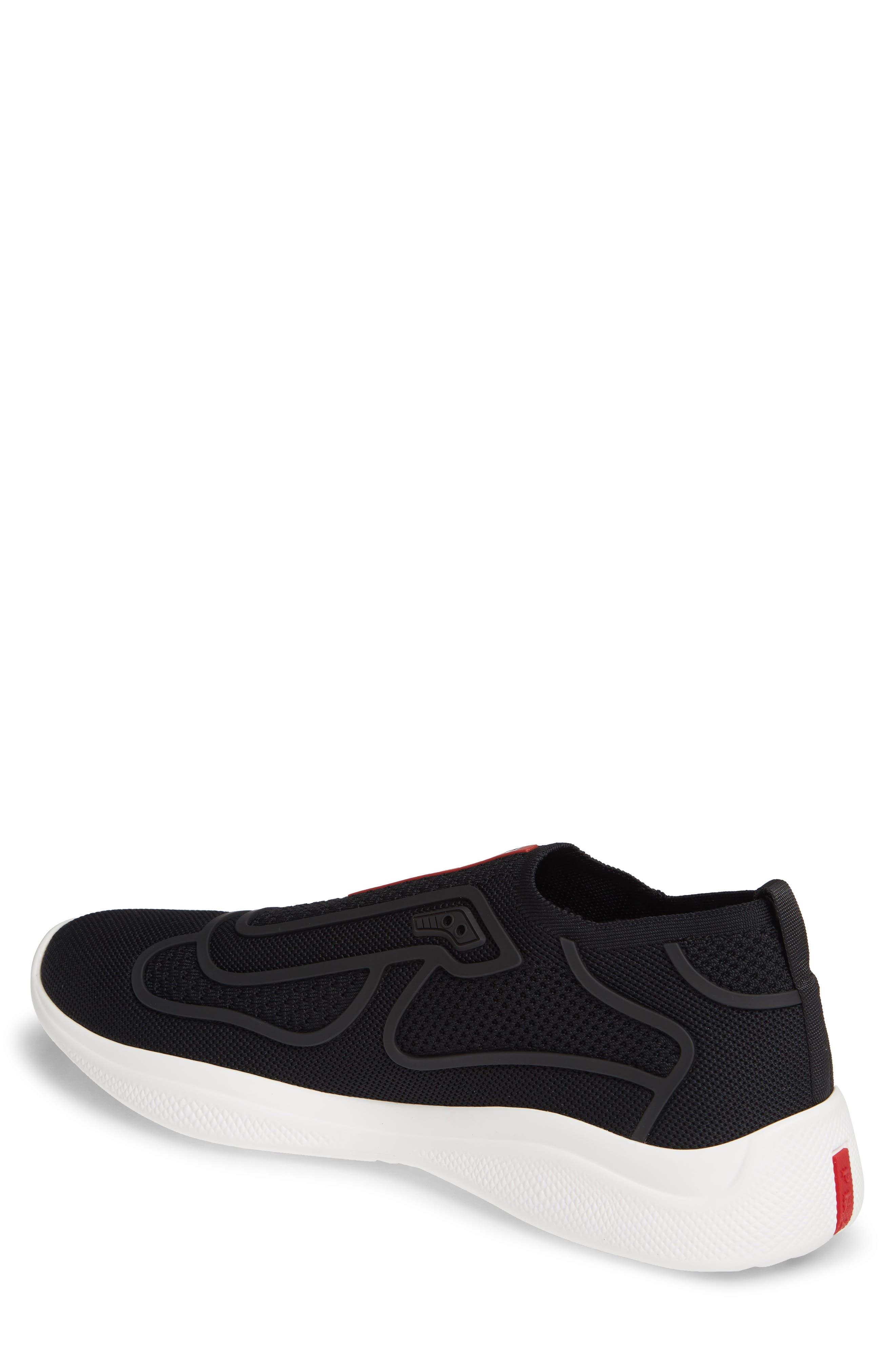 PRADA,                             Laceless Logo Sneaker,                             Alternate thumbnail 2, color,                             NERO