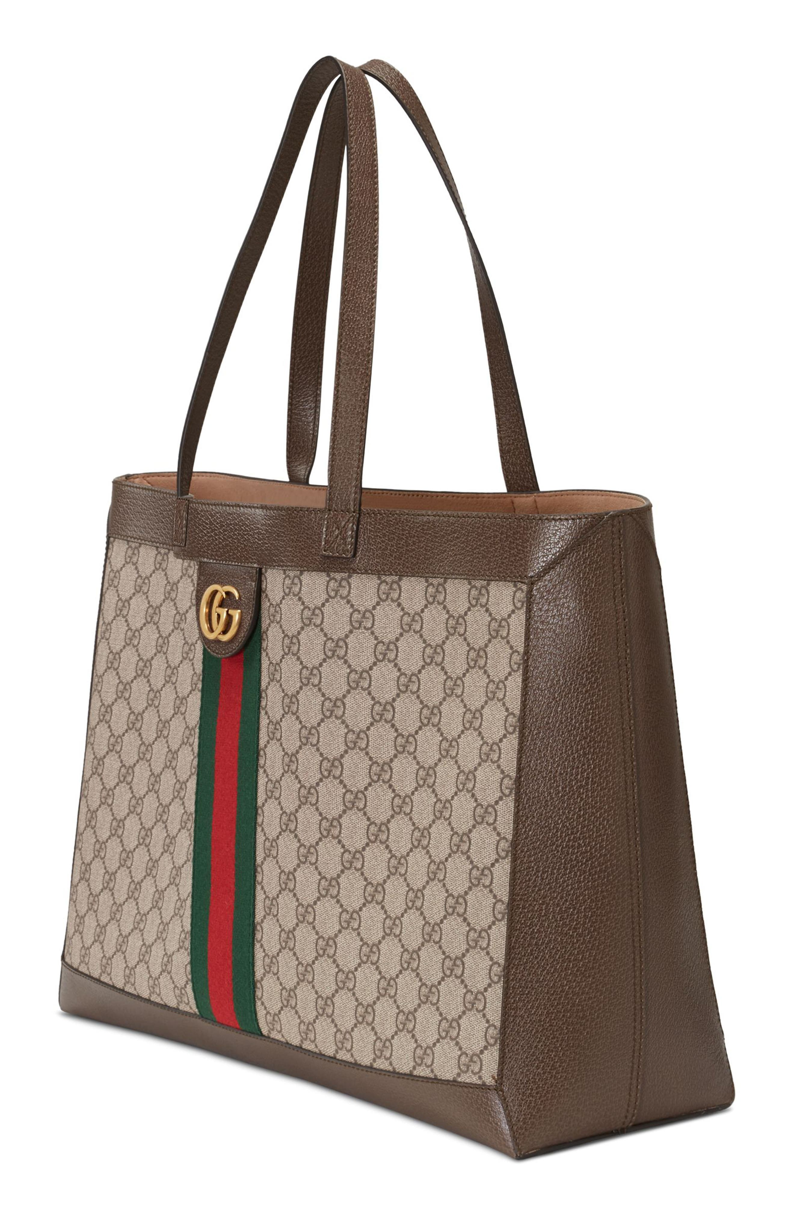 Ophidia GG Supreme Canvas Tote,                             Alternate thumbnail 4, color,                             284