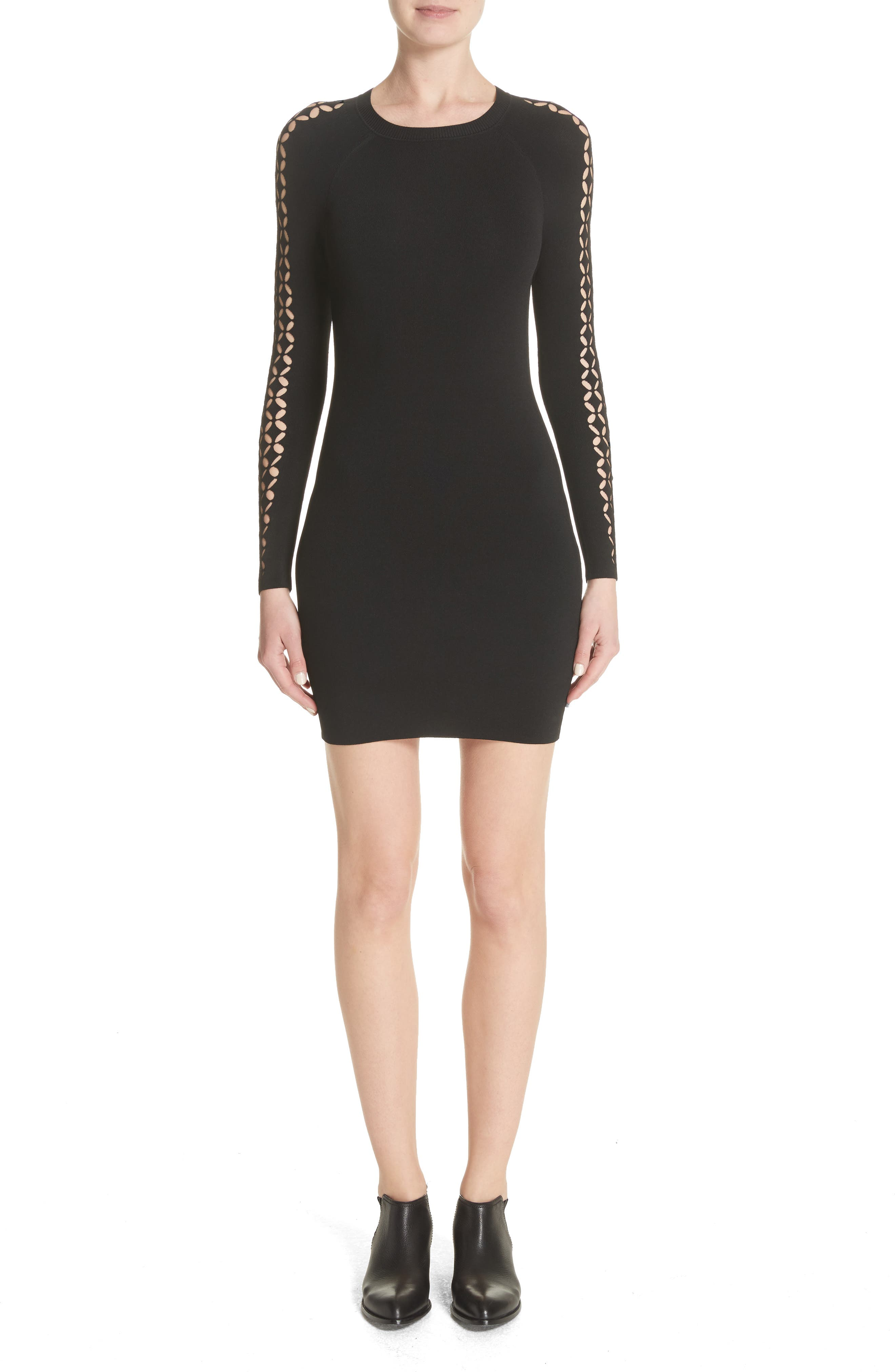 Open Knit Sleeve Dress,                             Main thumbnail 1, color,                             001