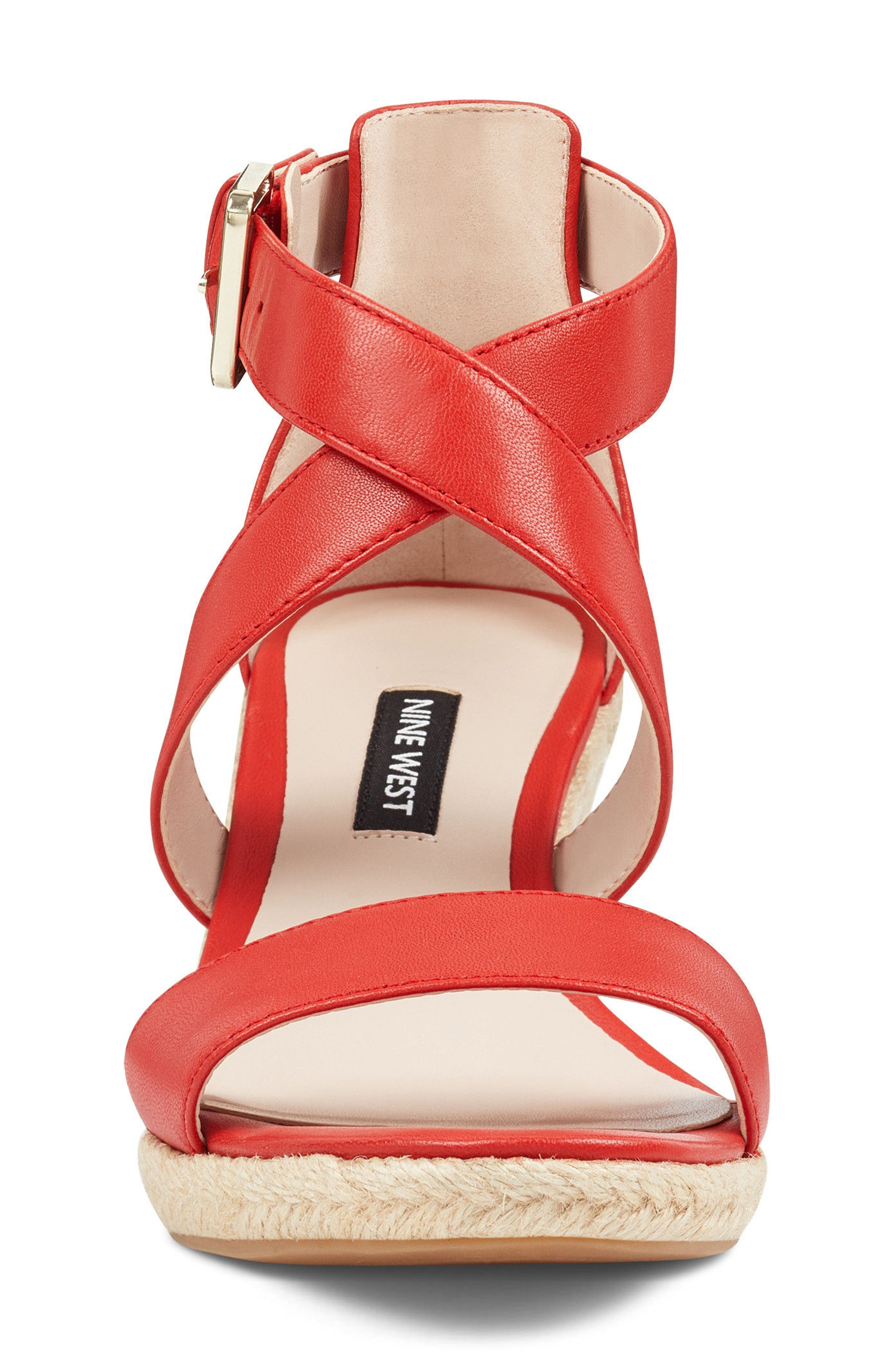 Jorjapeach Espadrille Wedge Sandal,                             Alternate thumbnail 4, color,                             RED LEATHER