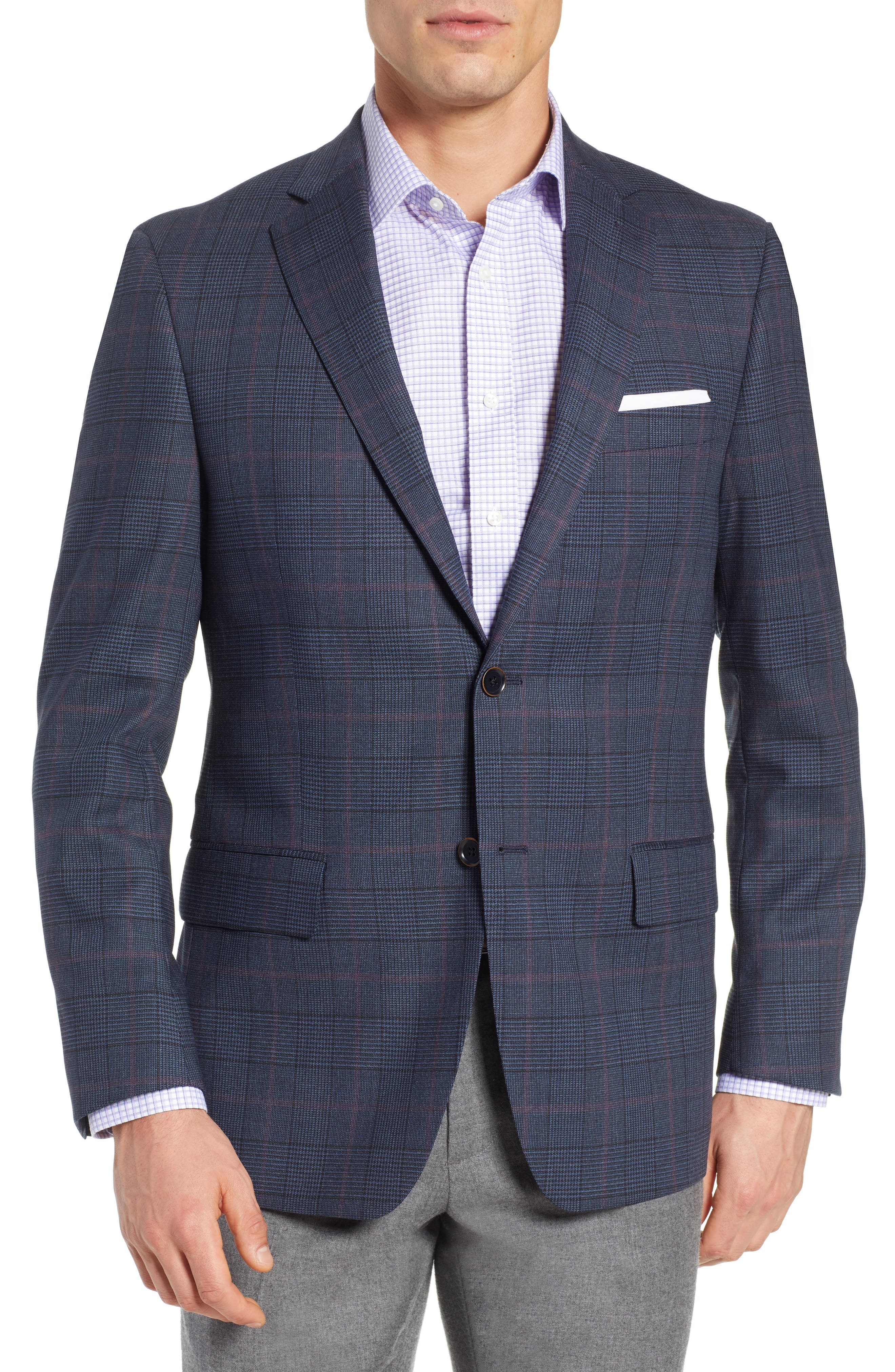 HART SCHAFFNER MARX Classic Fit Stretch Plaid Wool Sport Coat in Mid Blue