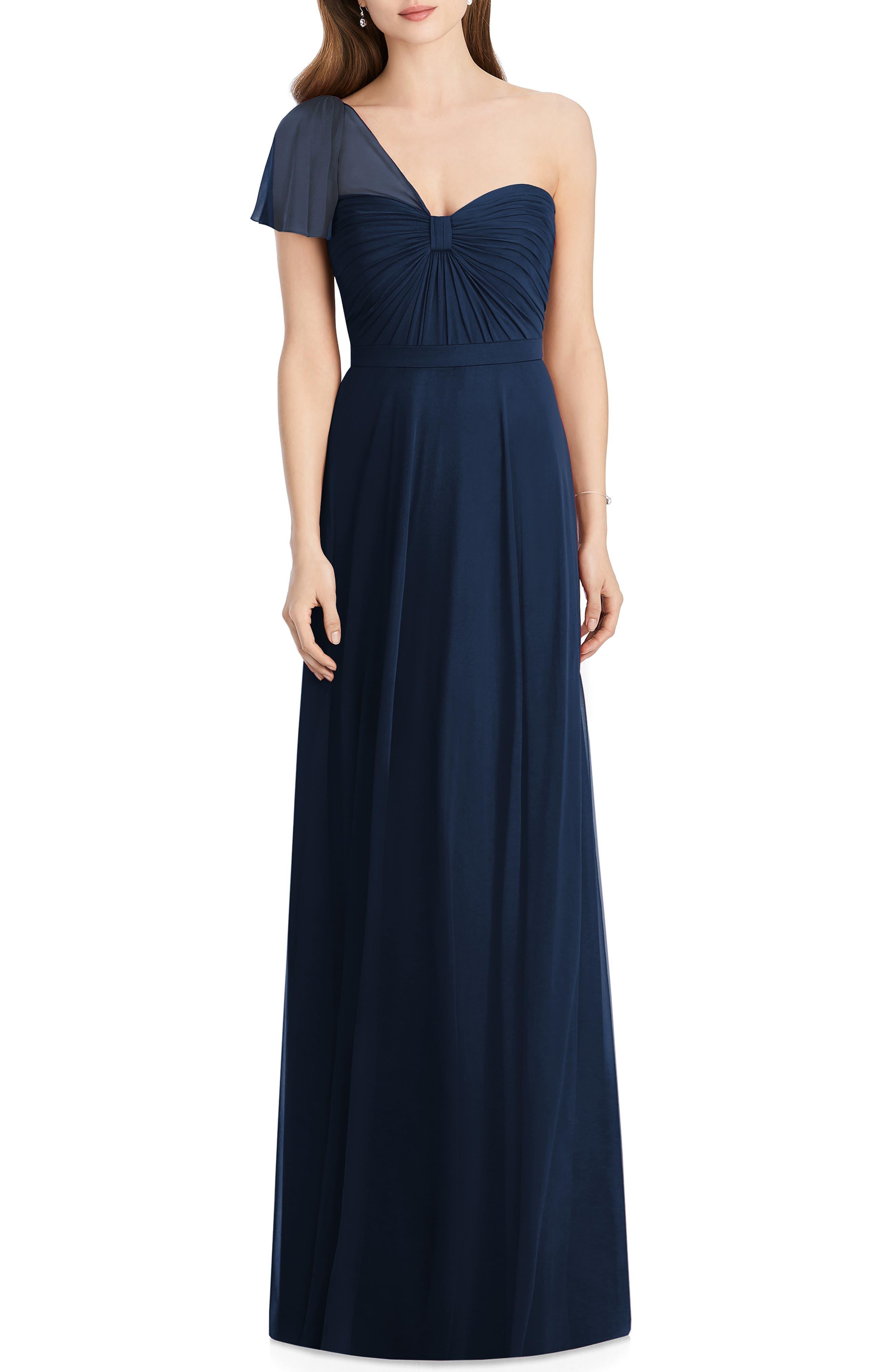 Jenny Packham Pleat One Shoulder Gown, Blue