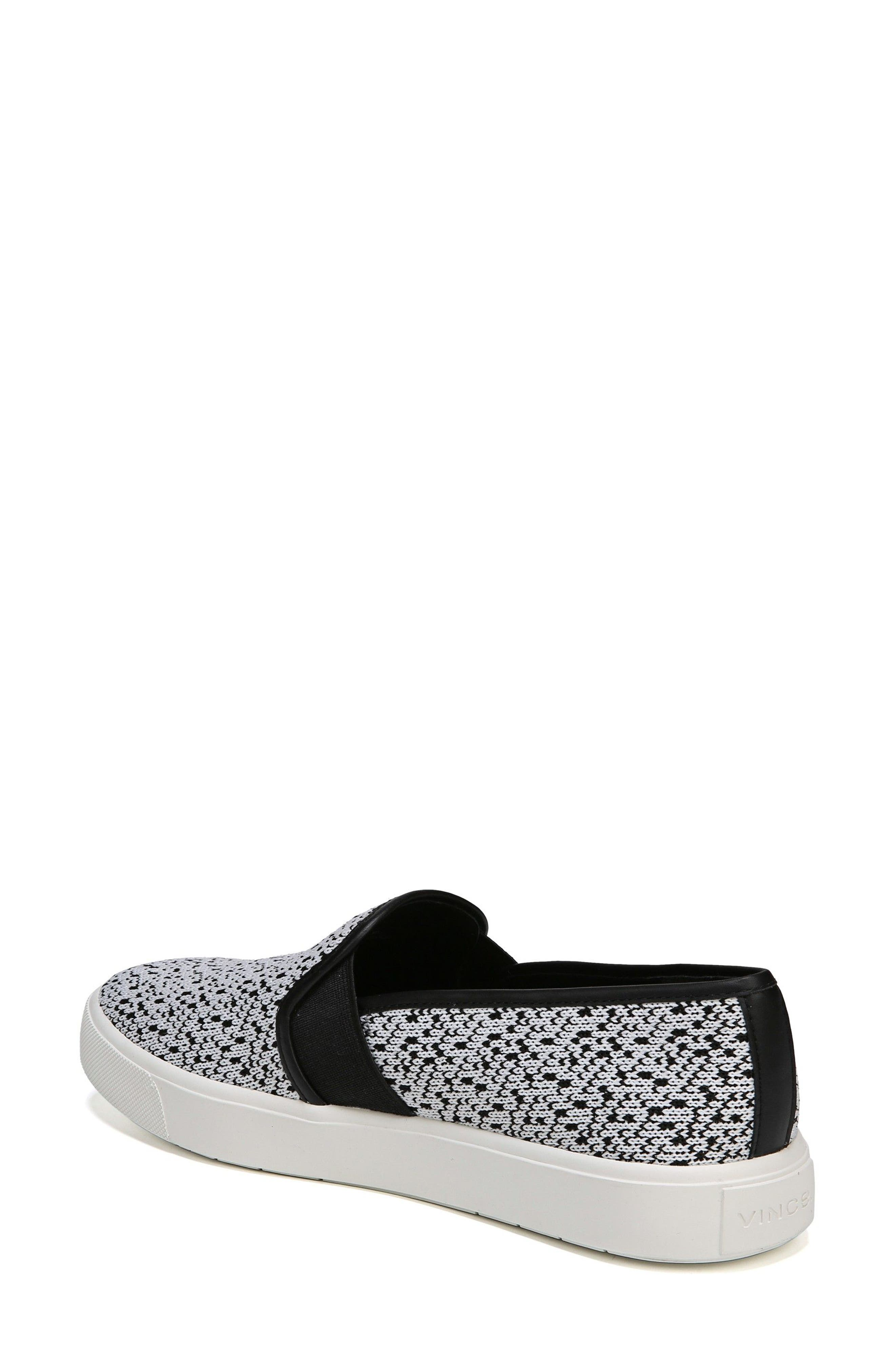 'Blair 12' Leather Slip-On Sneaker,                             Alternate thumbnail 2, color,                             WHITE/ BLACK YETI KNIT