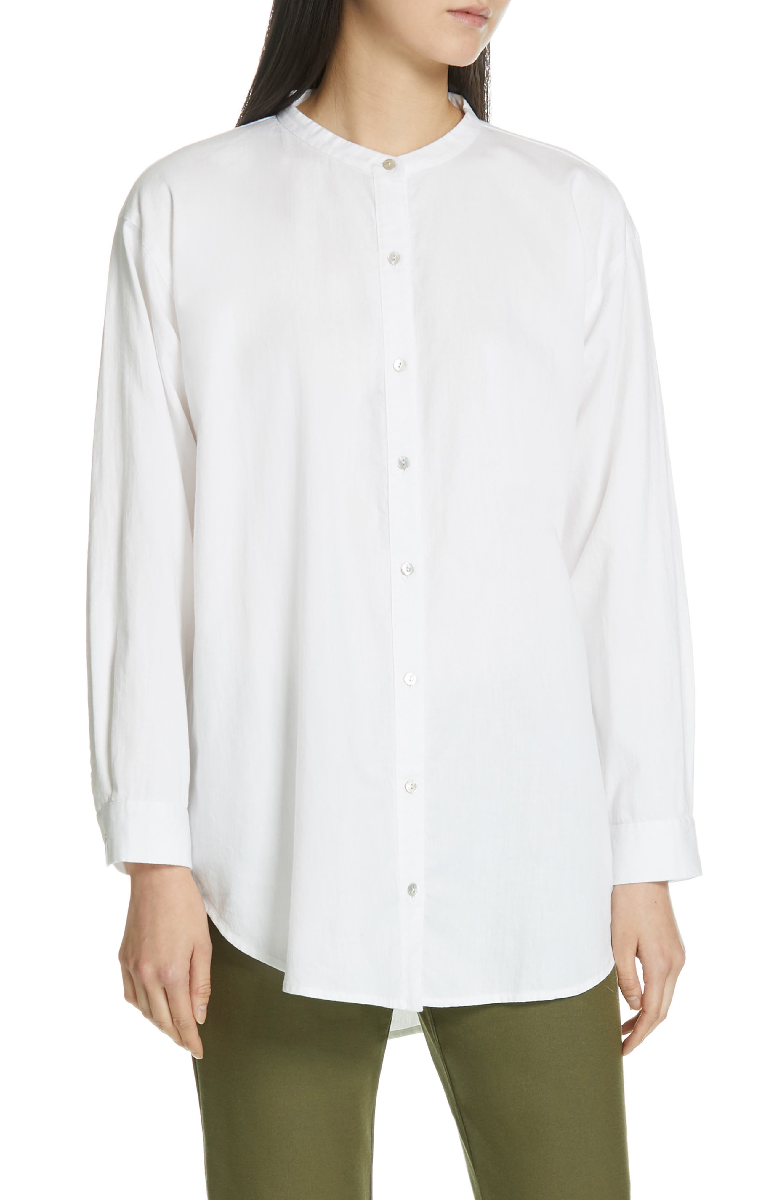 Eileen Fisher Mandarin Collar Organic Cotton Tunic Shirt, Ivory
