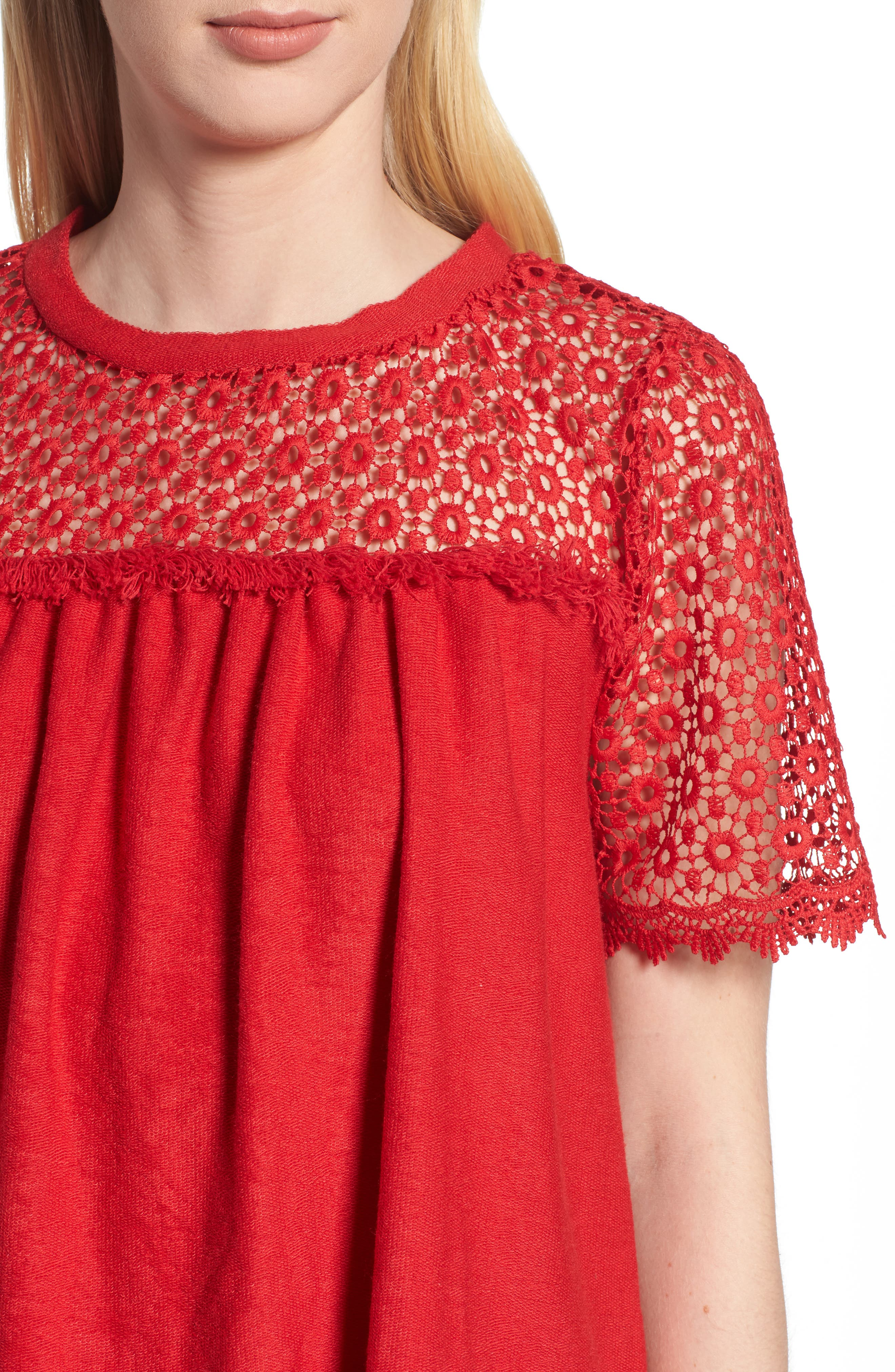 Lace Mixed Media Top,                             Alternate thumbnail 16, color,