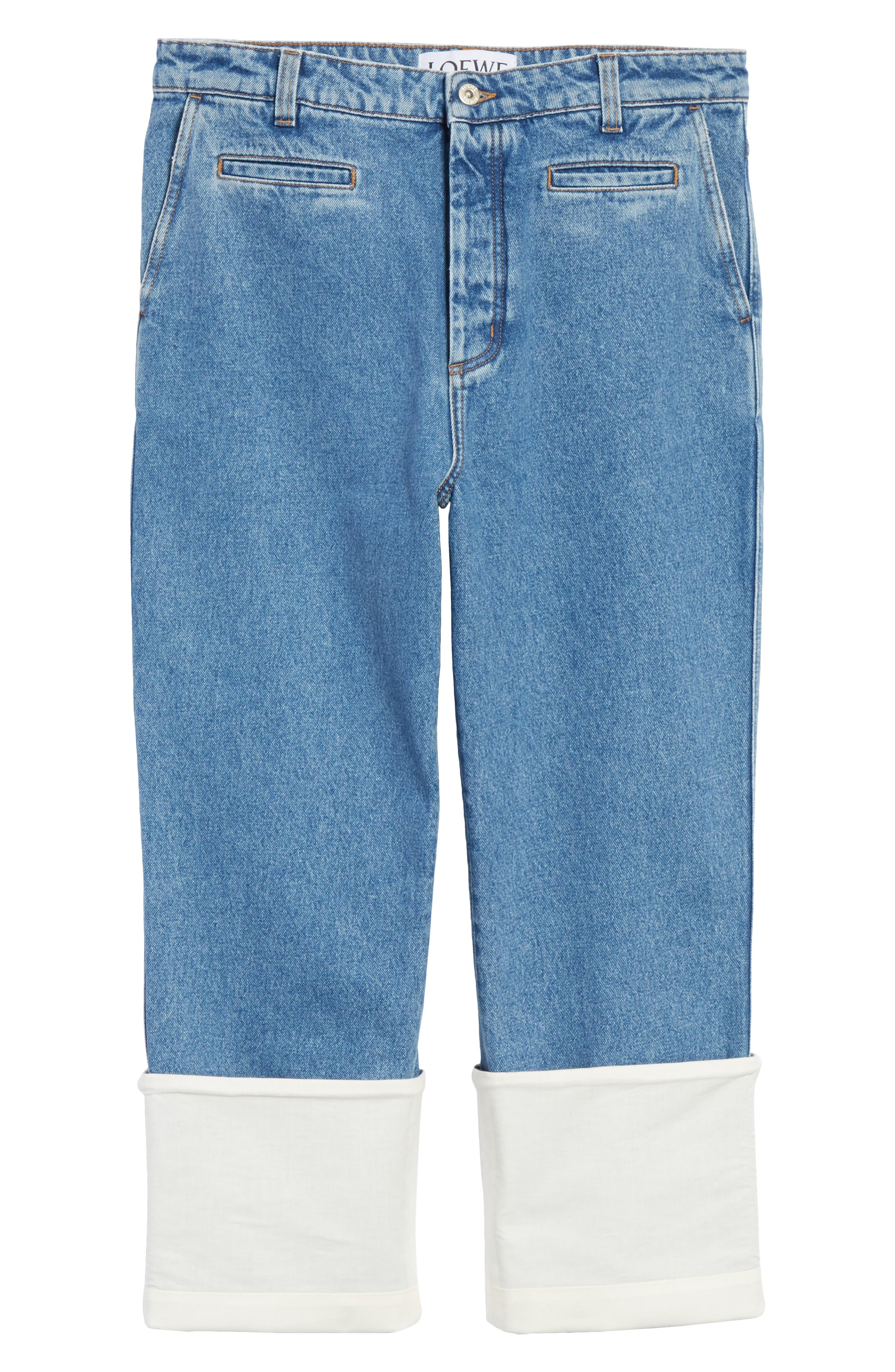 Fisherman Wide Leg Stonewash Jeans,                             Alternate thumbnail 6, color,                             BLUE