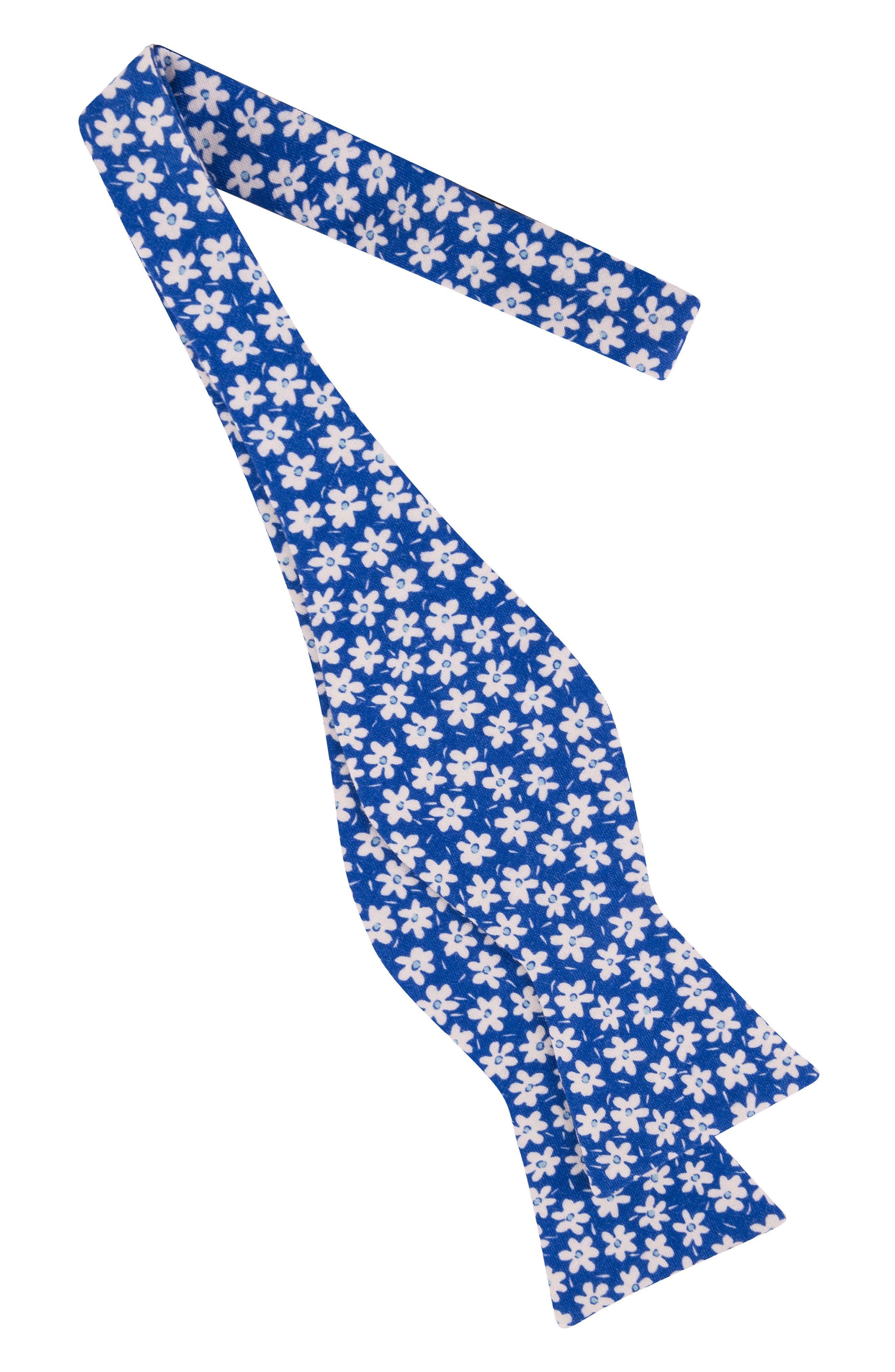 Blue Bells Floral Linen & Silk Bow Tie,                             Alternate thumbnail 2, color,                             439