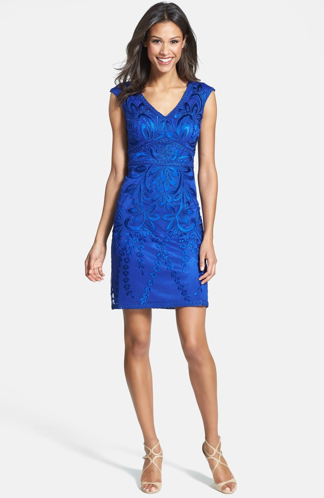 SUE WONG,                             Embroidered Sheath Dress,                             Alternate thumbnail 3, color,                             404