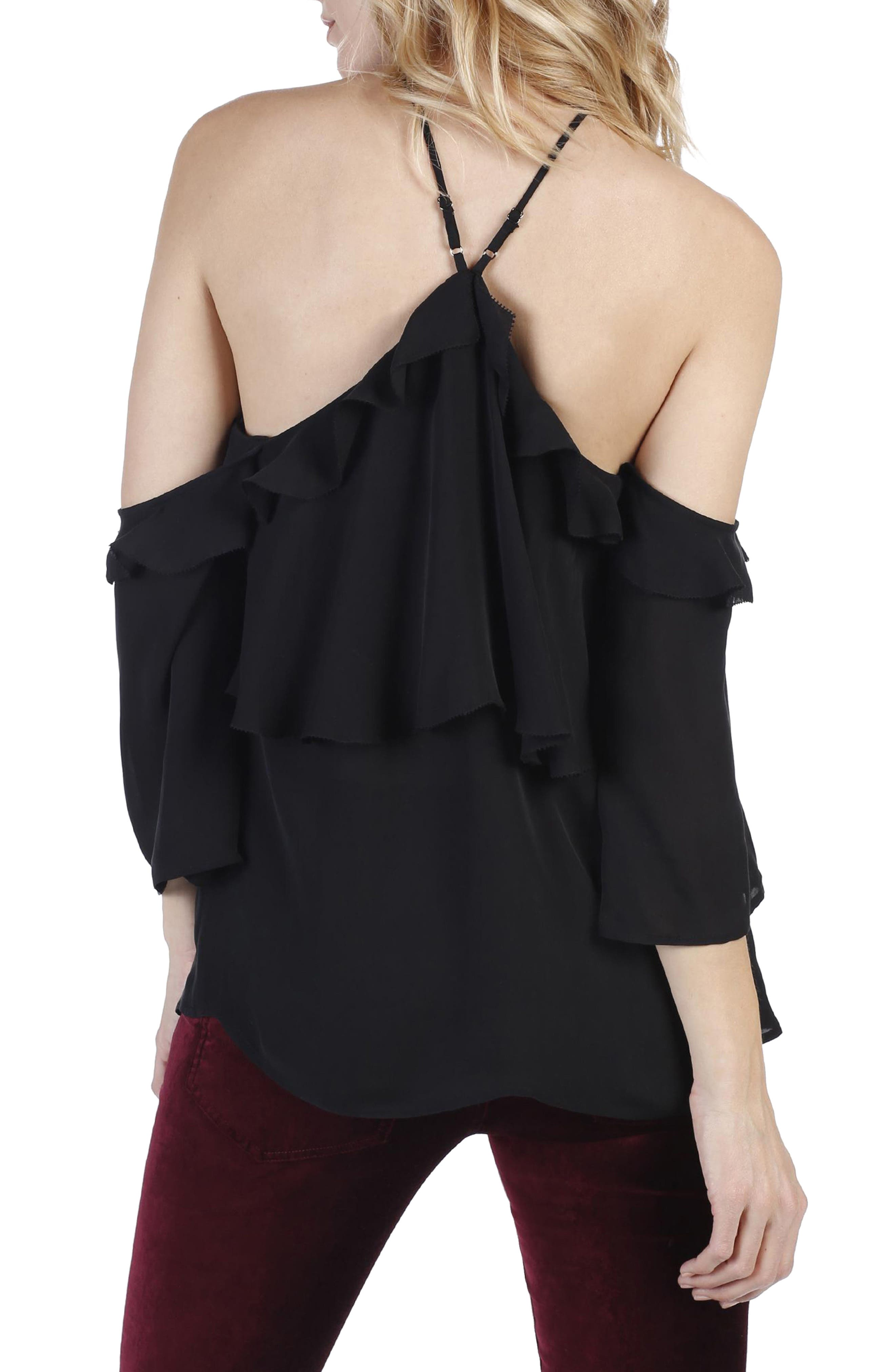 Luciana Off the Shoulder Silk Top,                             Alternate thumbnail 3, color,                             001