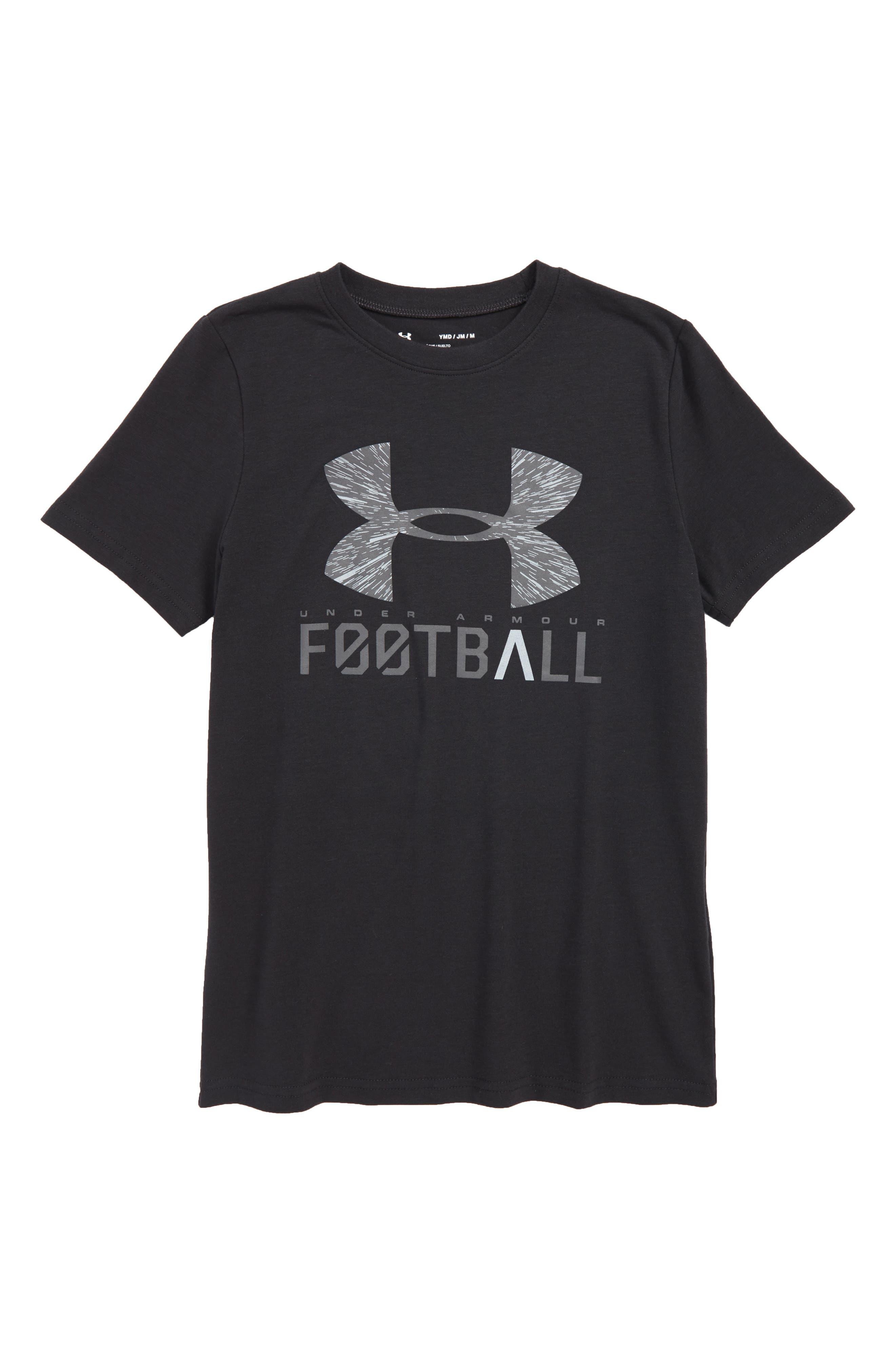Football Lockup HeatGear<sup>®</sup> Charged Cotton<sup>®</sup> T-Shirt,                             Main thumbnail 1, color,                             001