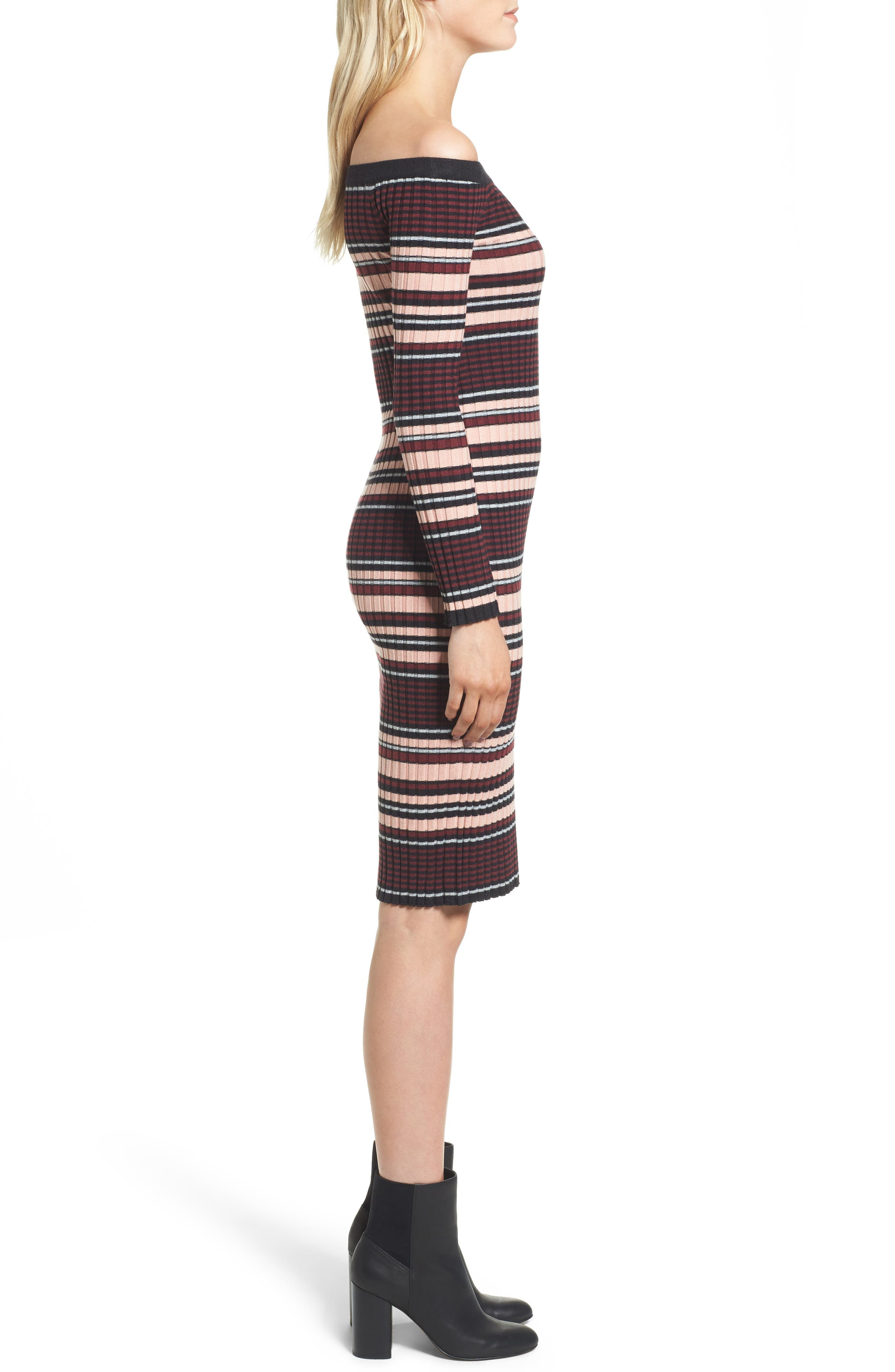 Tommy Off the Shoulder Body-Con Dress,                             Alternate thumbnail 3, color,                             001