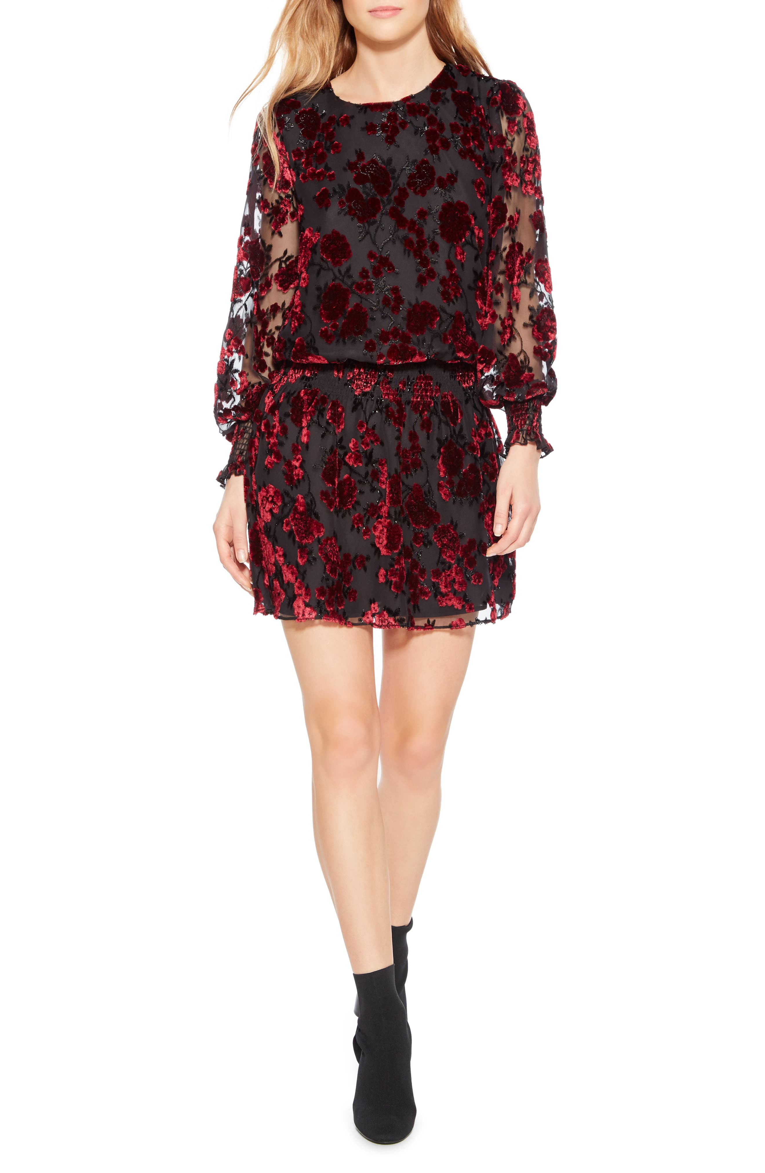 Carmindy Smocked Minidress,                         Main,                         color, MERLOT