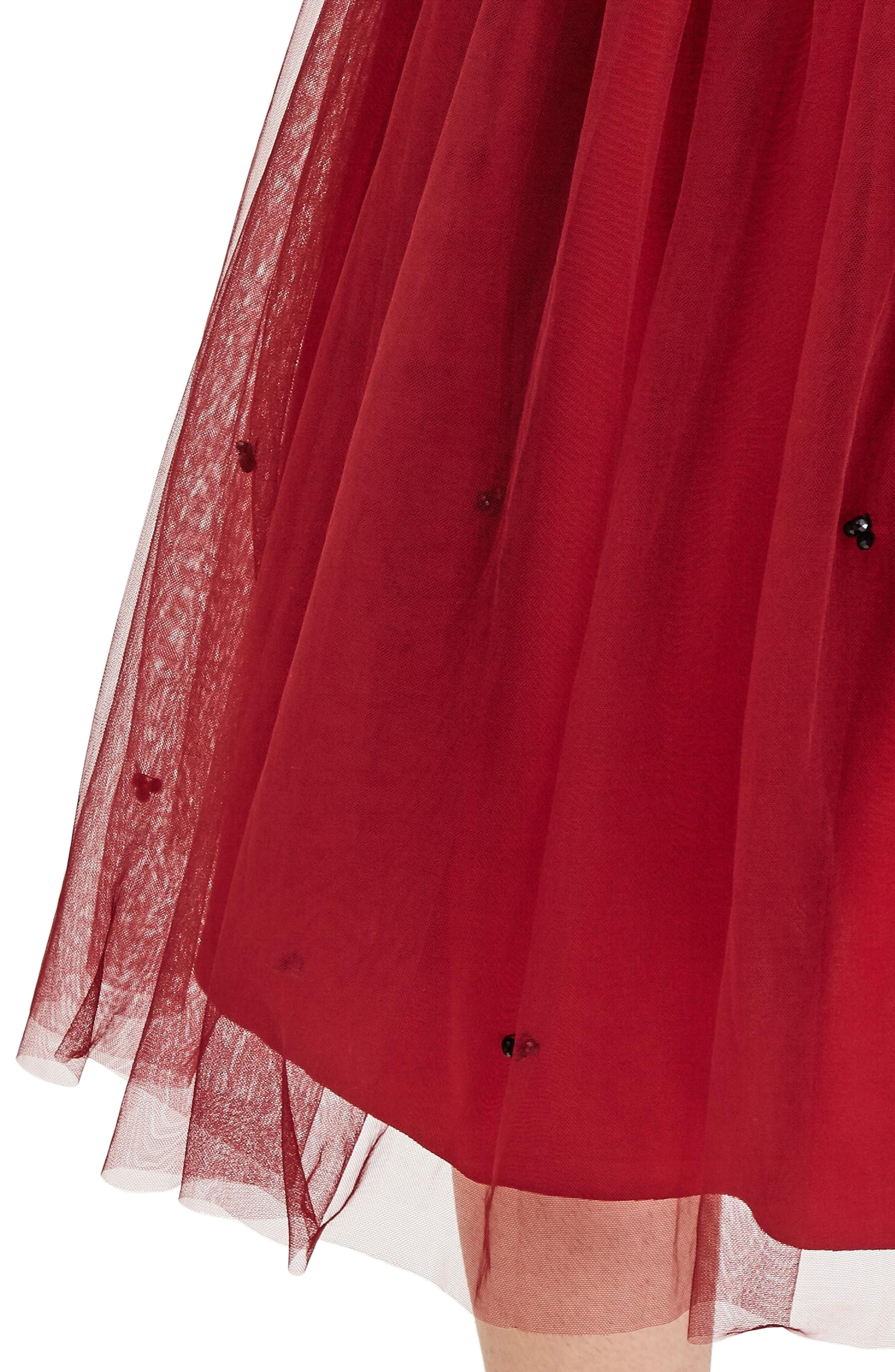 Red Tulle Beaded Skirt,                             Alternate thumbnail 4, color,                             600