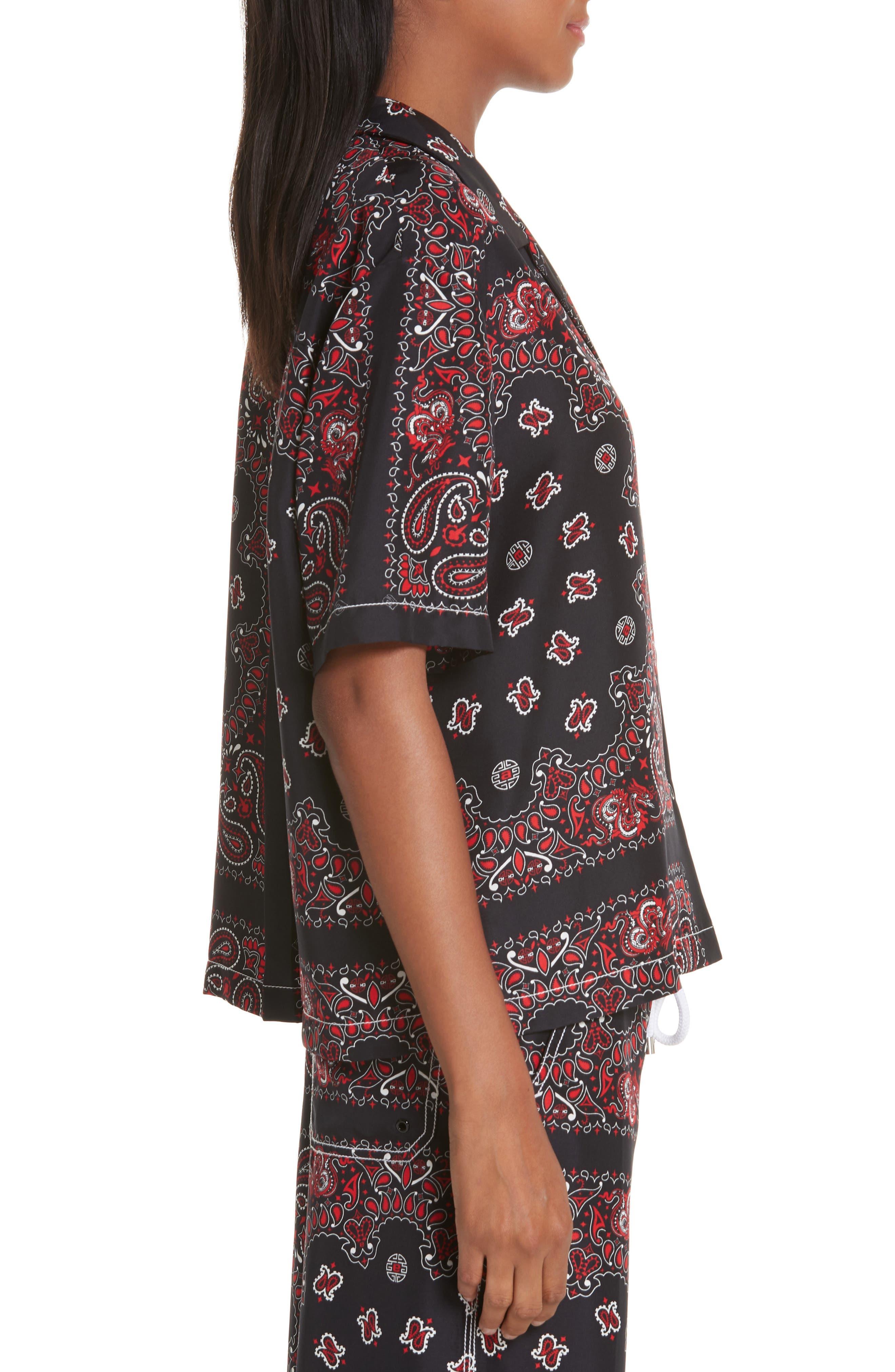 ALEXANDER WANG,                             Bandana Print Silk Shirt,                             Alternate thumbnail 4, color,                             BLACK/ RED