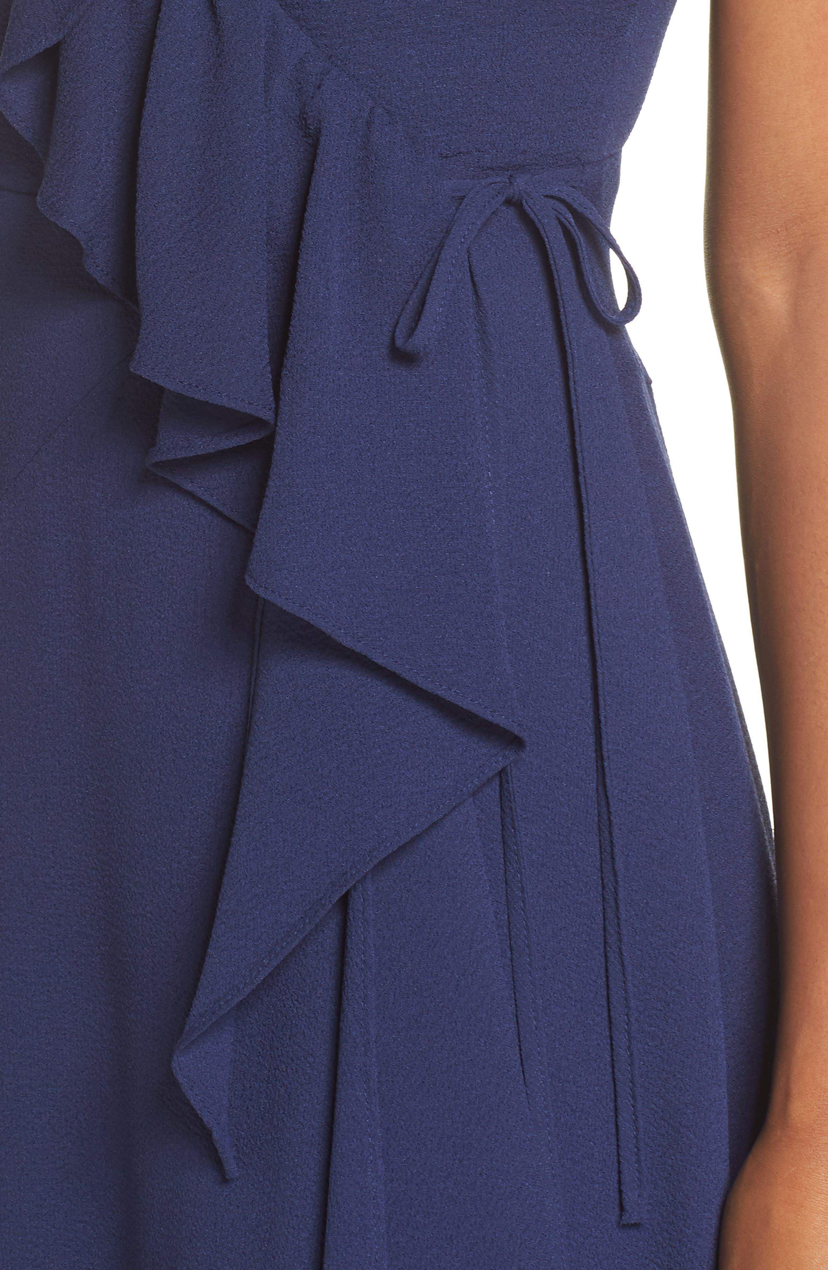 Georgette Faux Wrap Dress,                             Alternate thumbnail 4, color,                             460