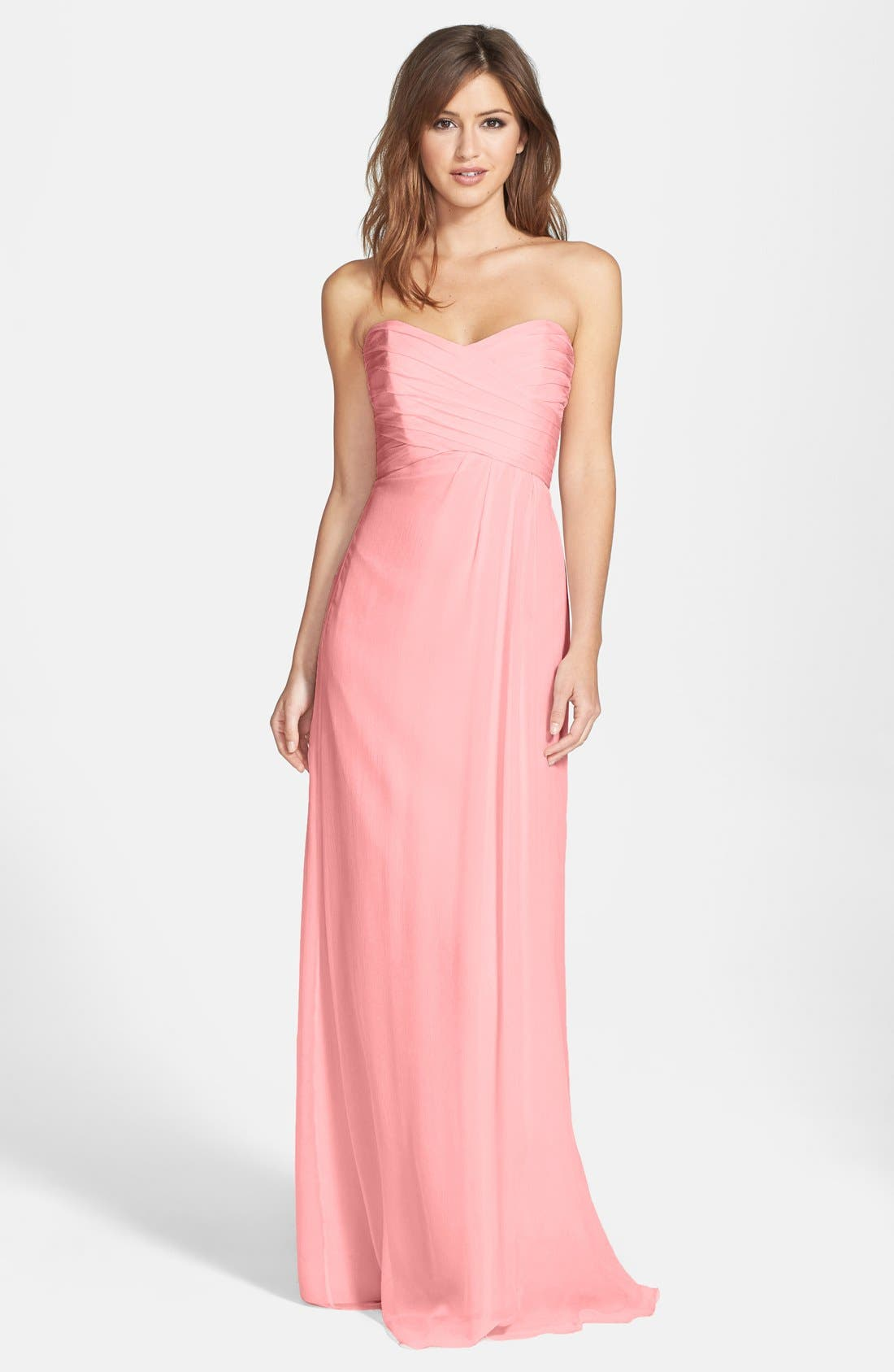 Strapless Crinkle Chiffon Gown,                             Main thumbnail 14, color,