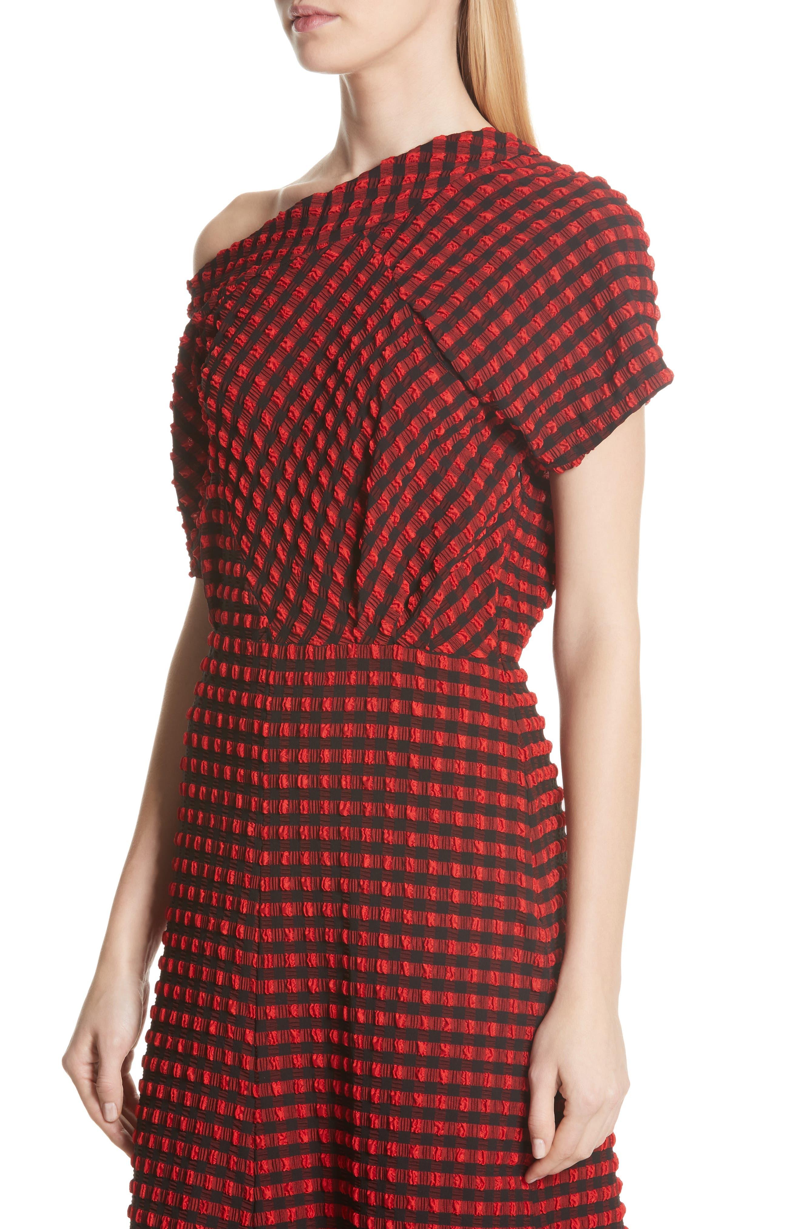 Pout Gingham One-Shoulder Midi Dress,                             Alternate thumbnail 4, color,                             640