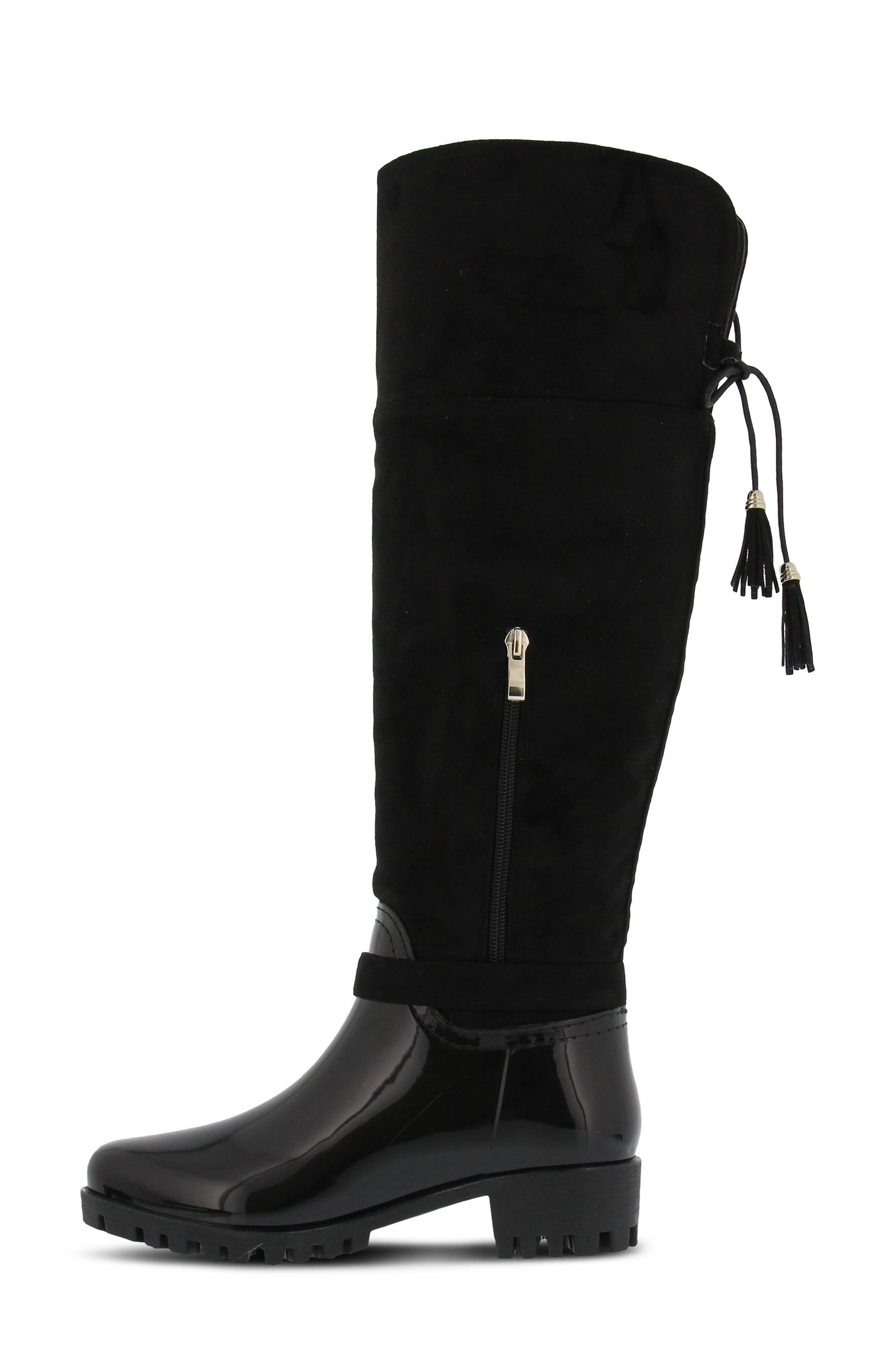 Mattie Over the Knee Waterproof Boot,                             Alternate thumbnail 8, color,                             BLACK