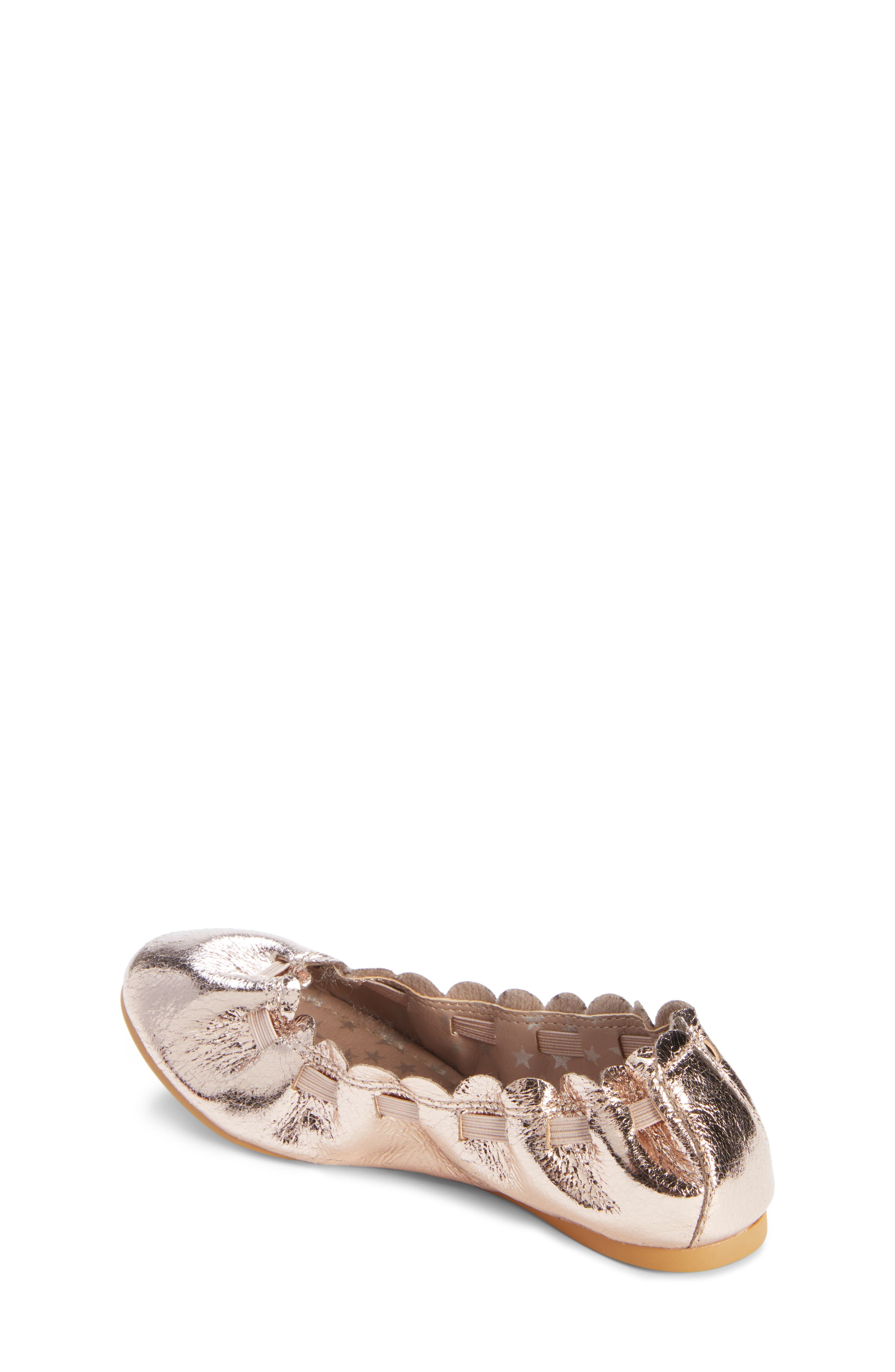 Scalloped Ballet Flat,                             Alternate thumbnail 2, color,                             ROSE GOLD CRACKLE FAUX LEATHER