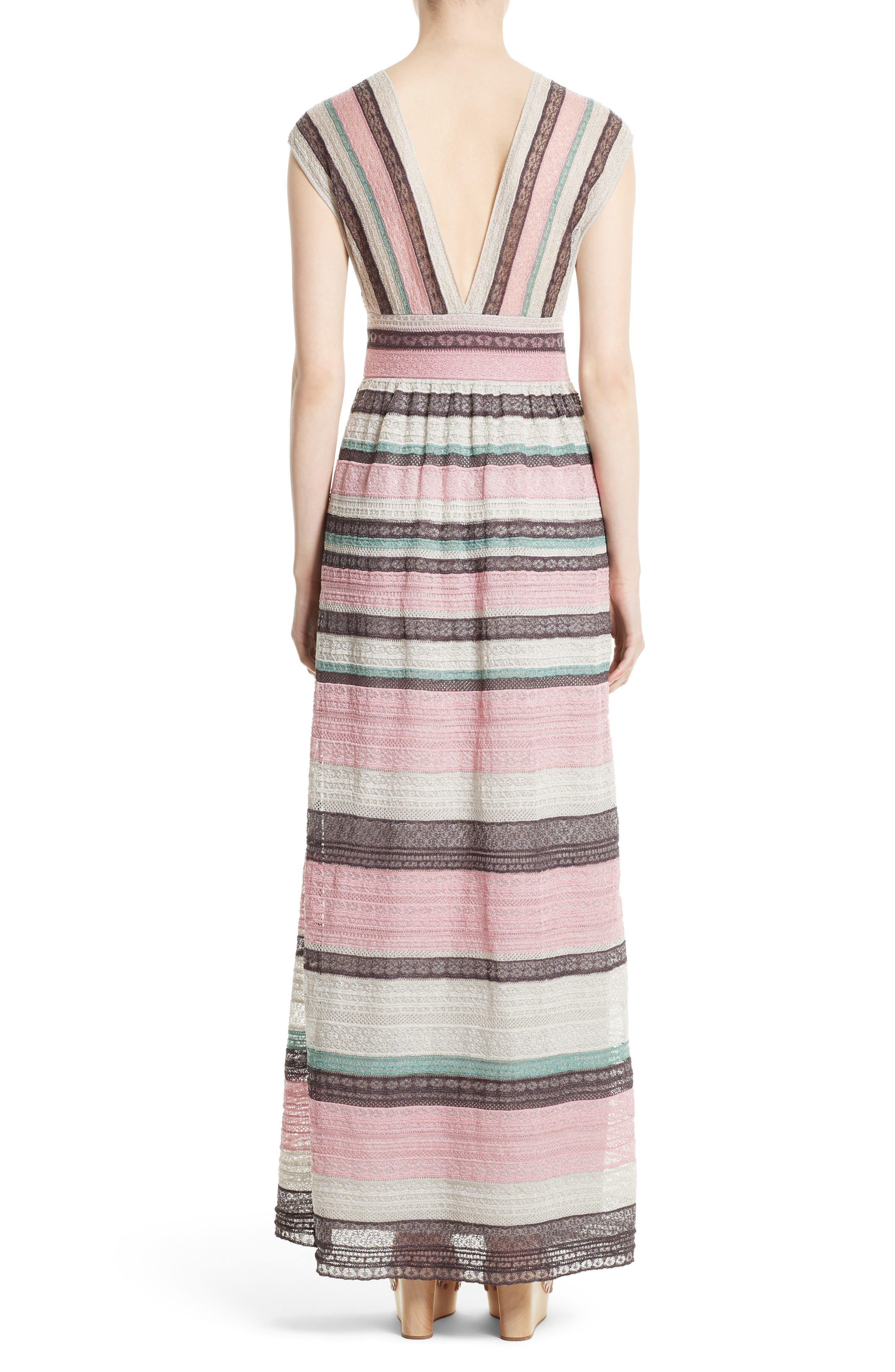 Lace Stripe Maxi Dress,                             Alternate thumbnail 2, color,                             664