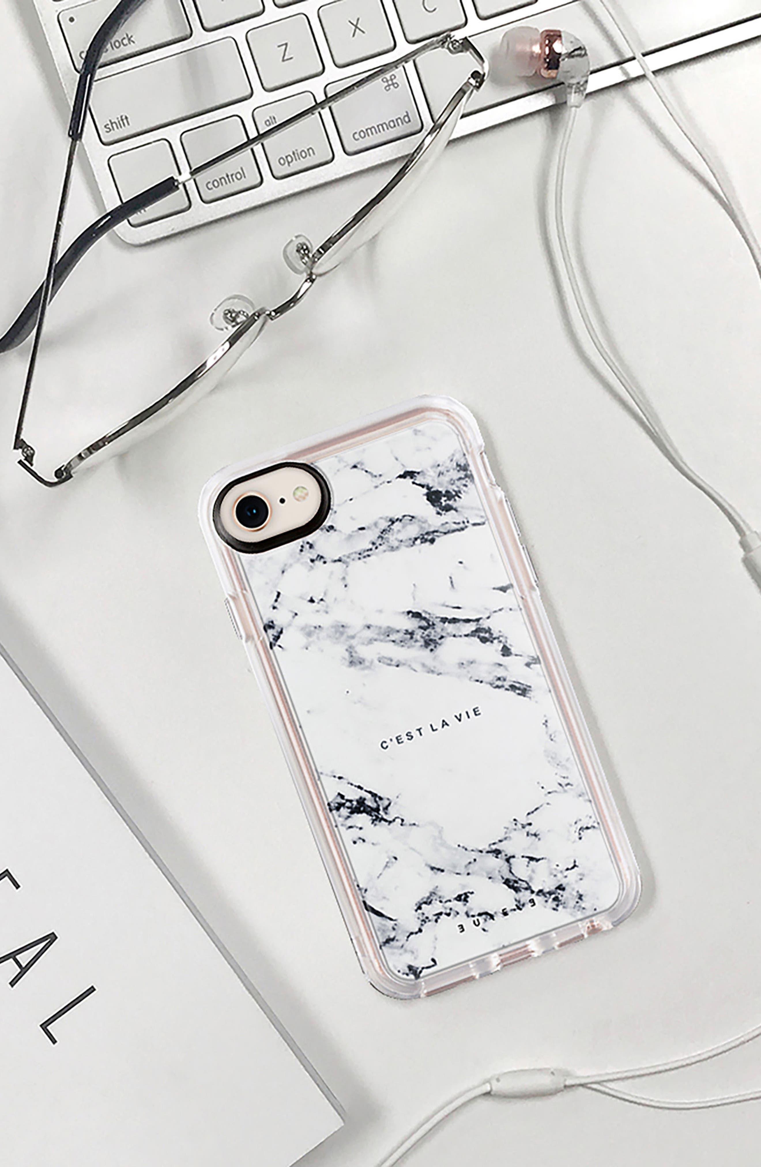 C'est la Vie Marble iPhone 7/8 & 7/8 Plus Case,                             Alternate thumbnail 8, color,                             WHITE MARBLE