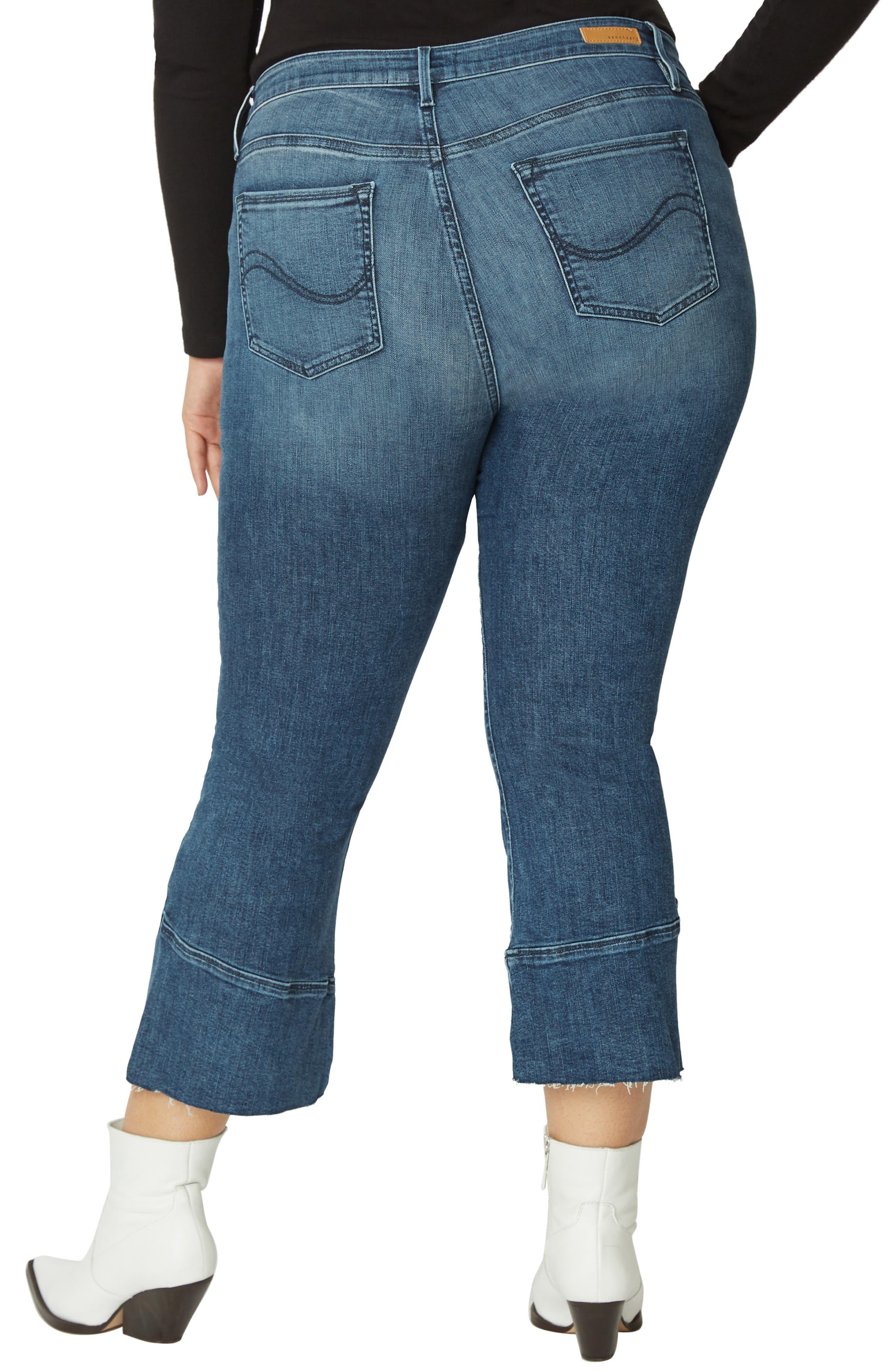 Tulip Hem Kick Crop Jeans,                             Alternate thumbnail 2, color,                             DISTRICT BLUE