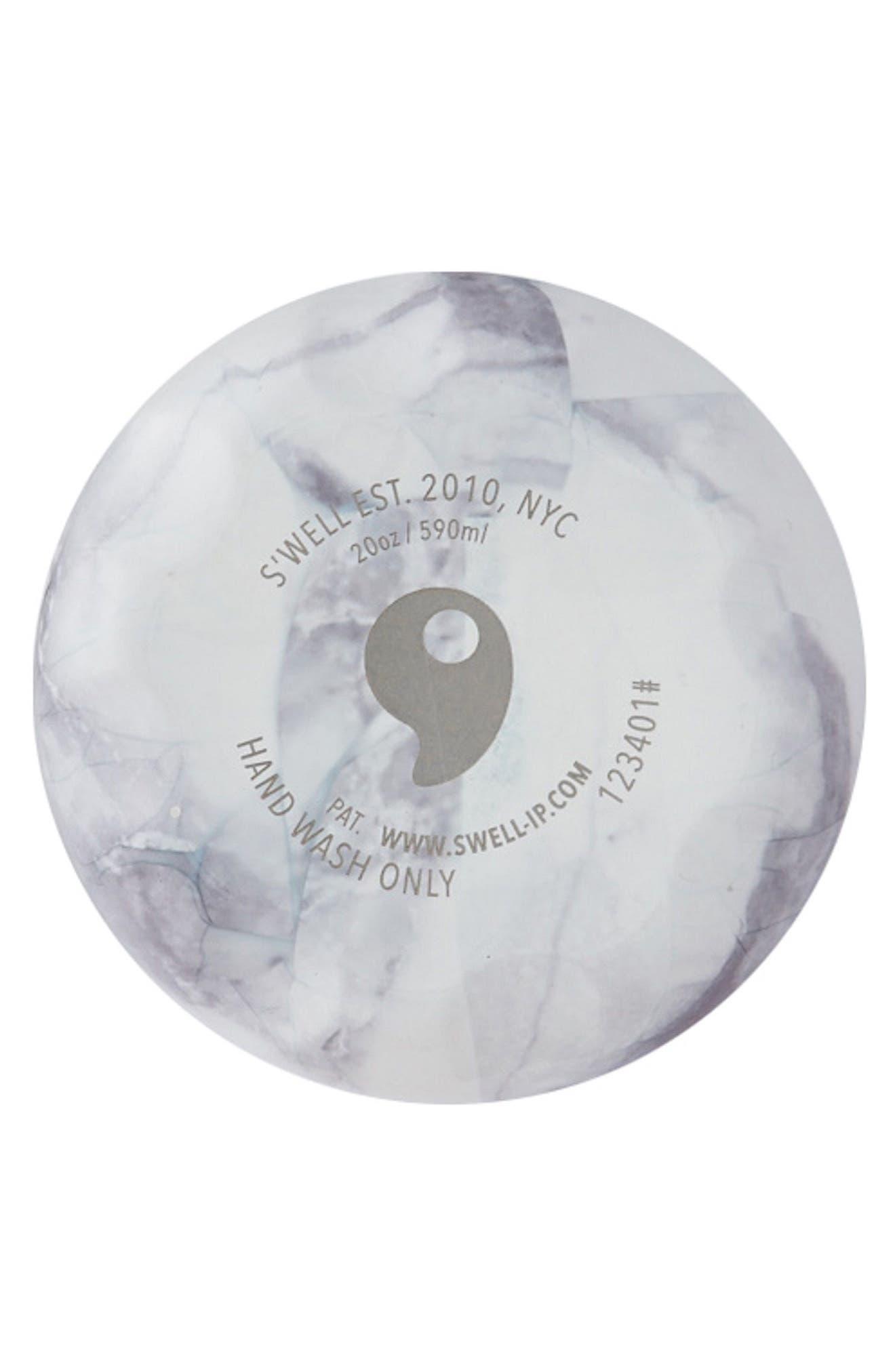 Traveler White Marble Insulated Stainless Steel Water Bottle,                             Alternate thumbnail 3, color,                             WHITE MARBLE