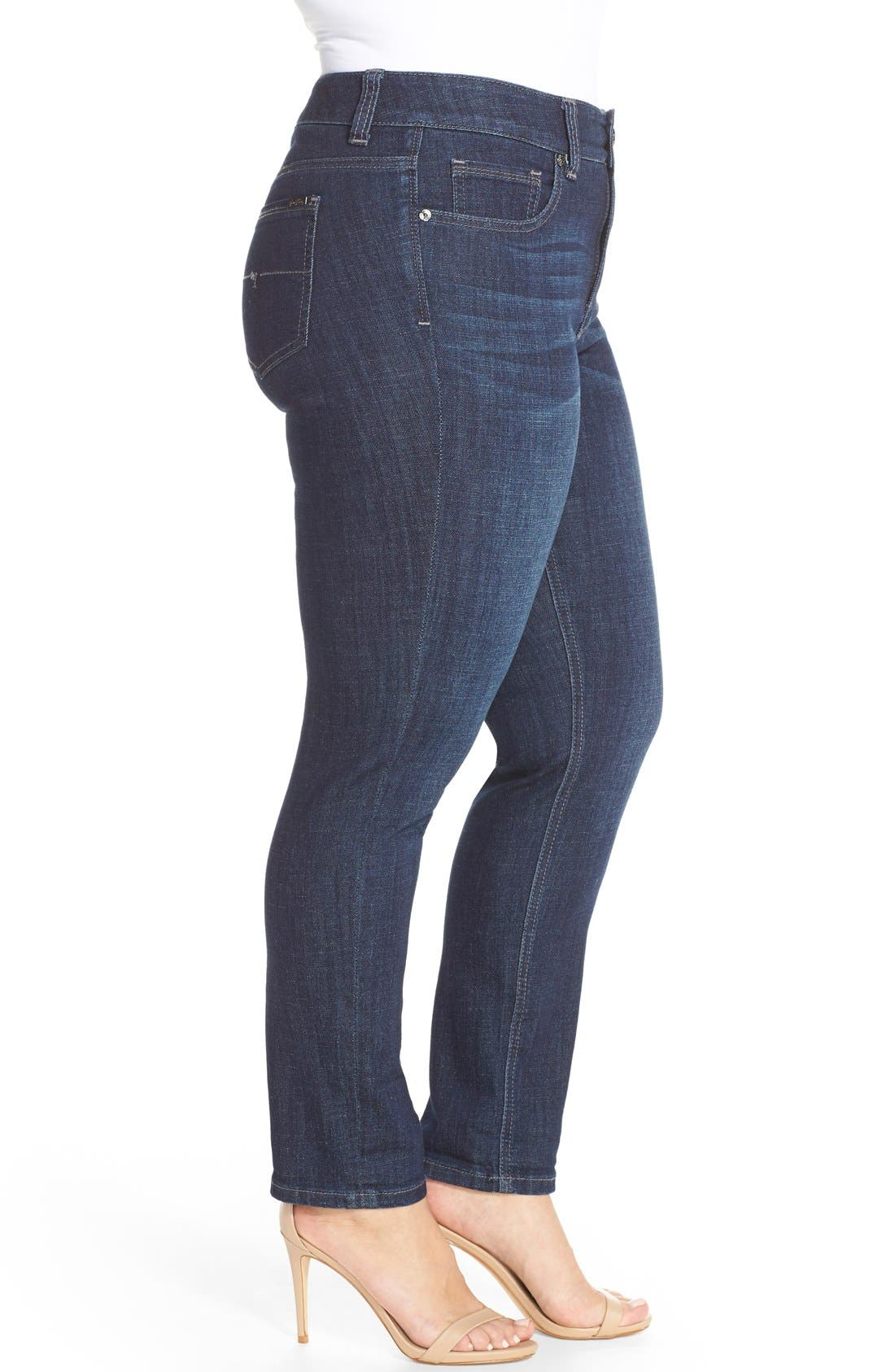 Stretch Straight Leg Jeans,                             Alternate thumbnail 4, color,                             412