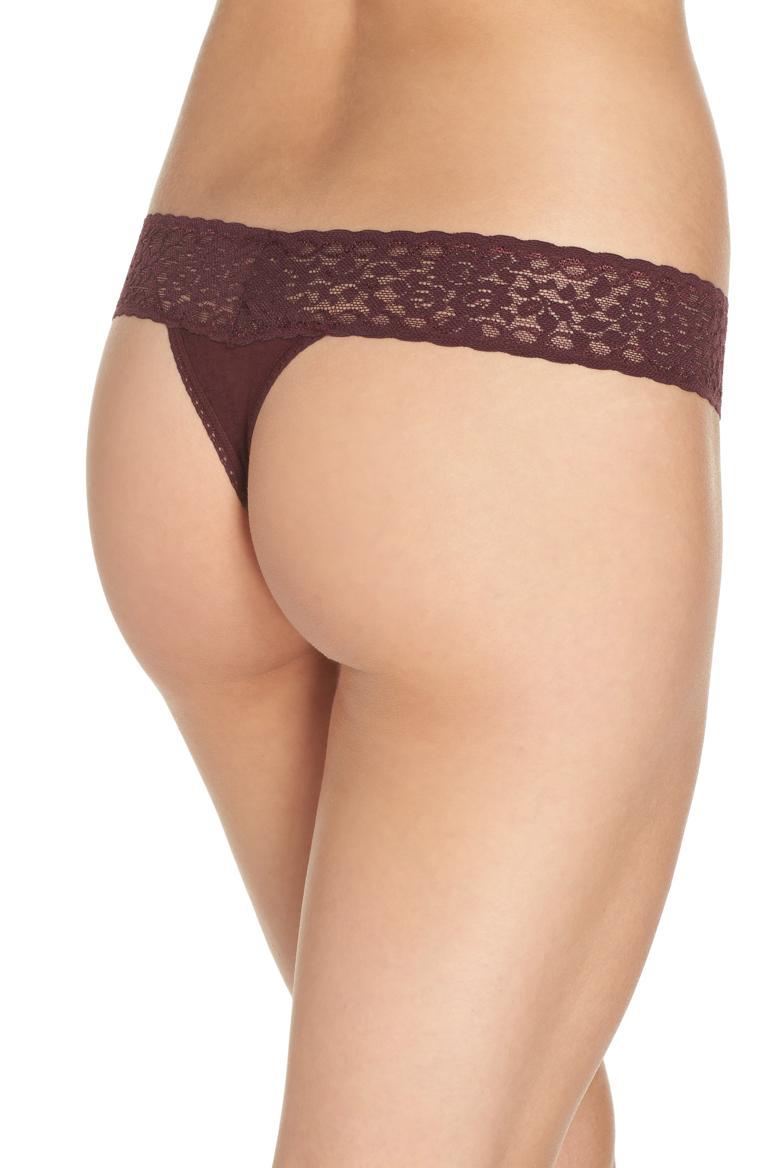 'Logo' Low Rise Thong,                             Alternate thumbnail 2, color,                             HICKORY RED