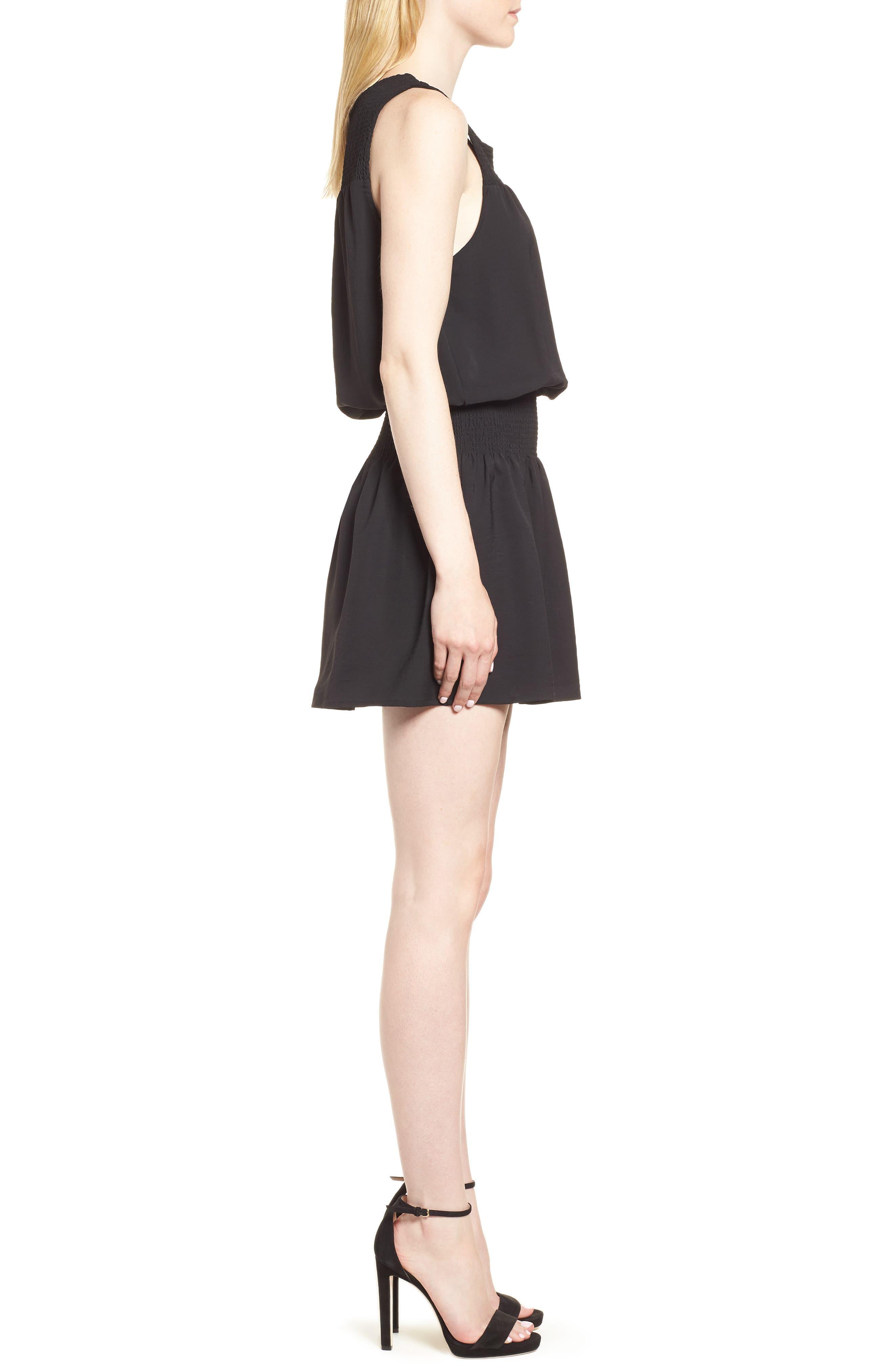 Bishop + Young Smocked Dress,                             Alternate thumbnail 3, color,                             BLACK