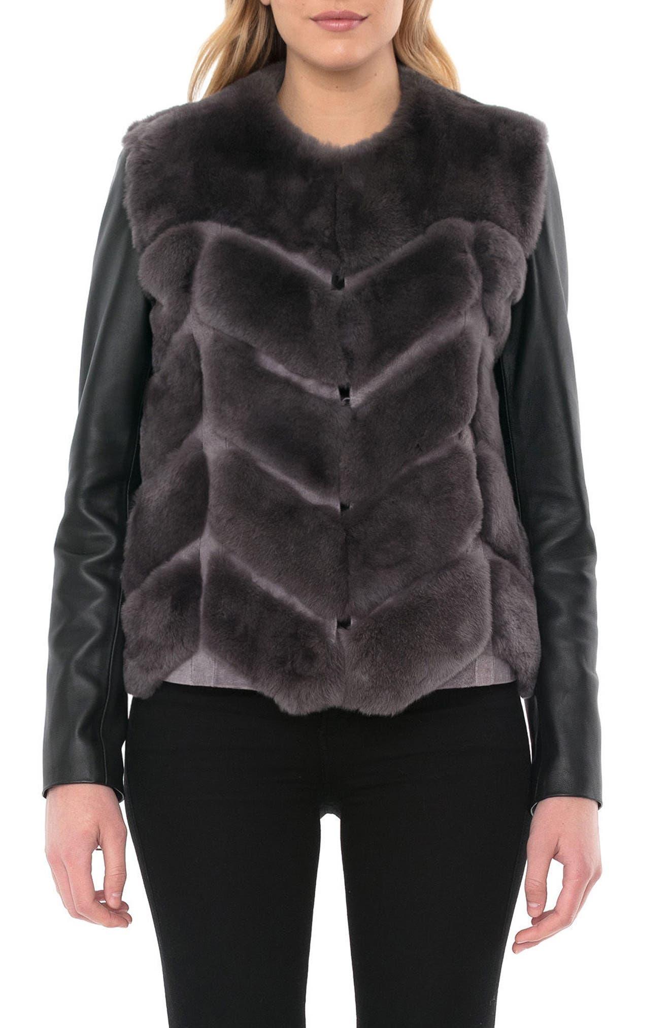 Genuine Rabbit Fur & Leather Jacket,                             Alternate thumbnail 5, color,                             028