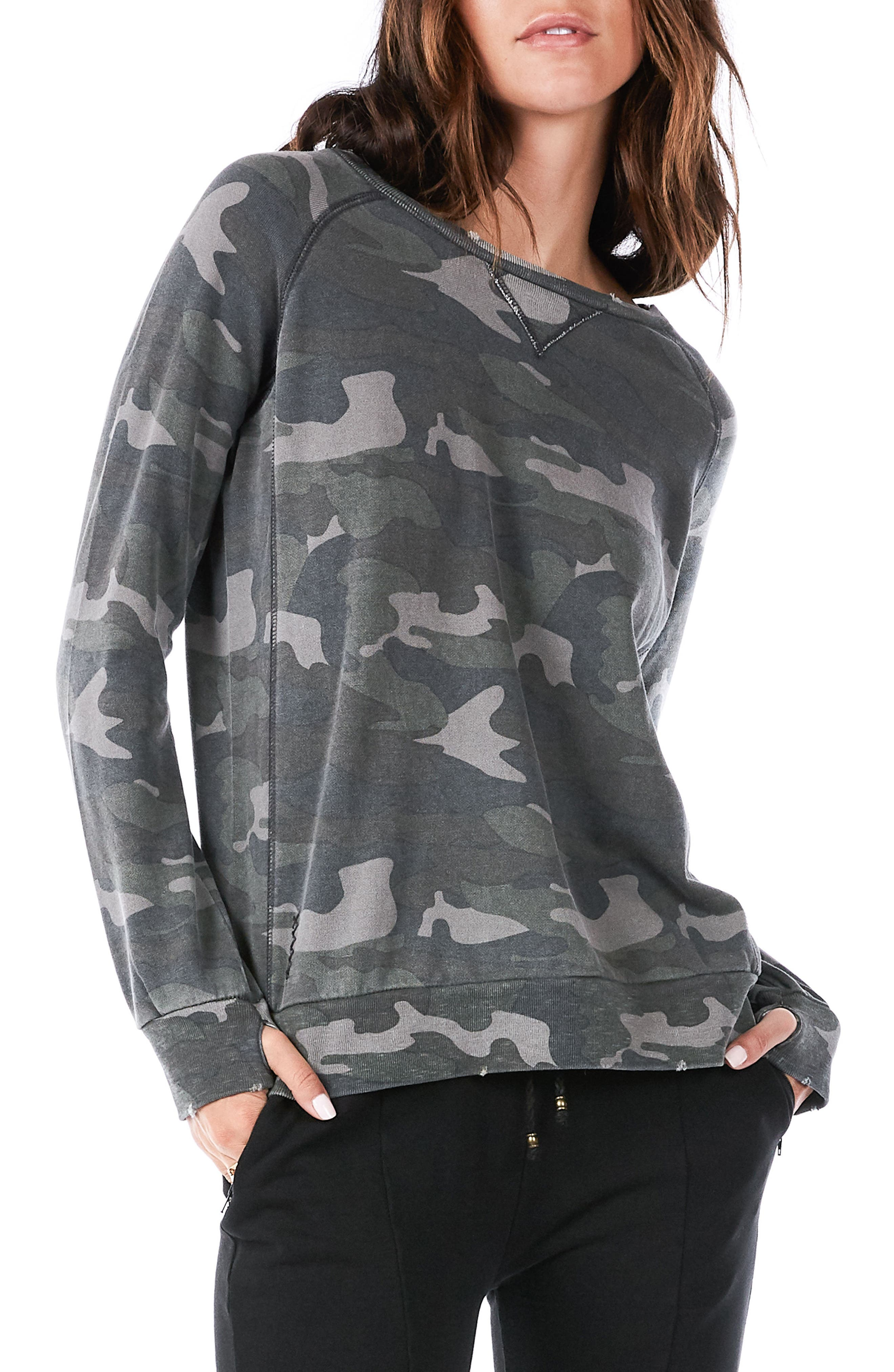 Distressed Camo Sweatshirt,                         Main,                         color, 300