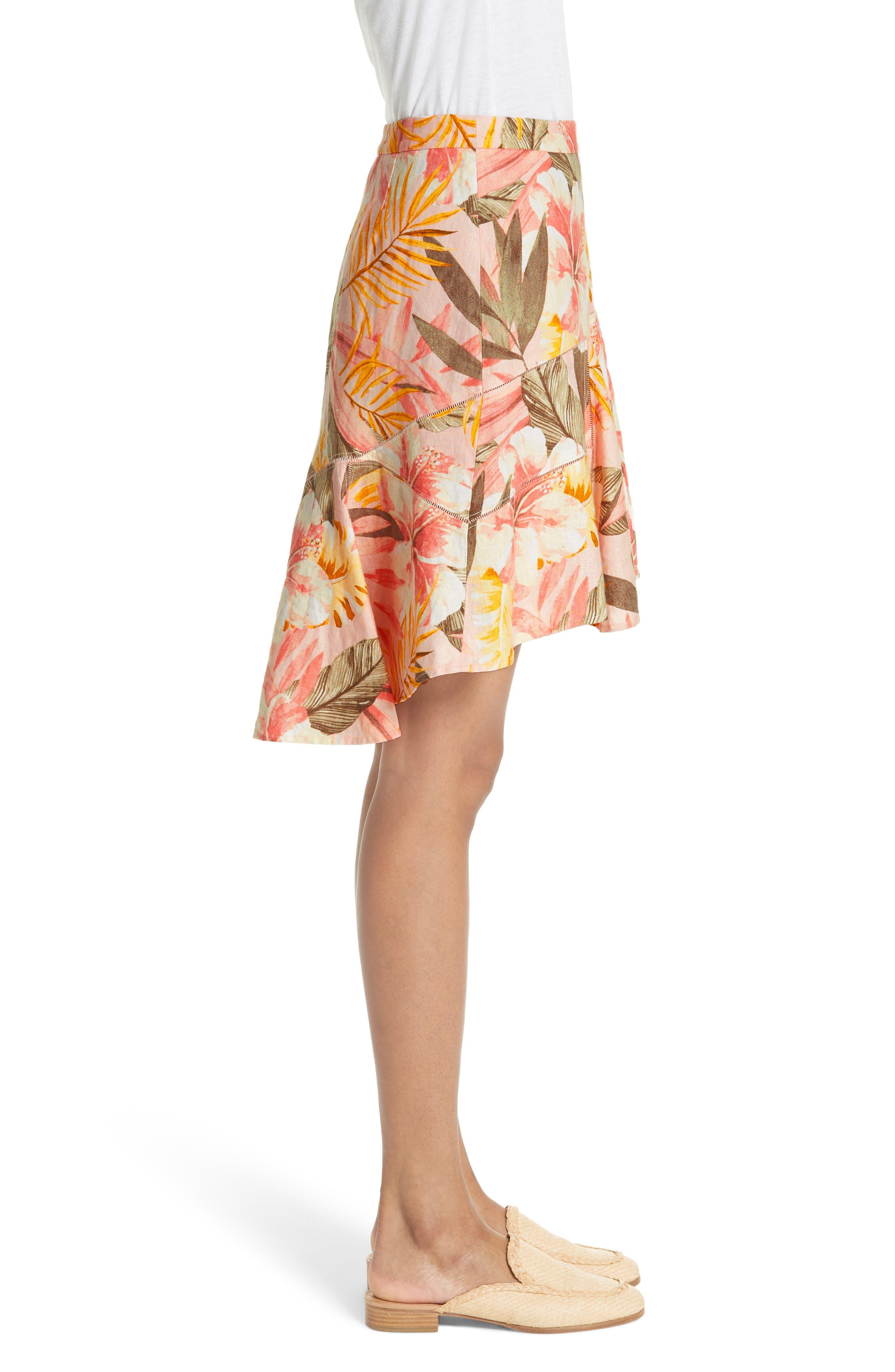 Radhiya Linen Floral Ruffle Skirt,                             Alternate thumbnail 3, color,                             660