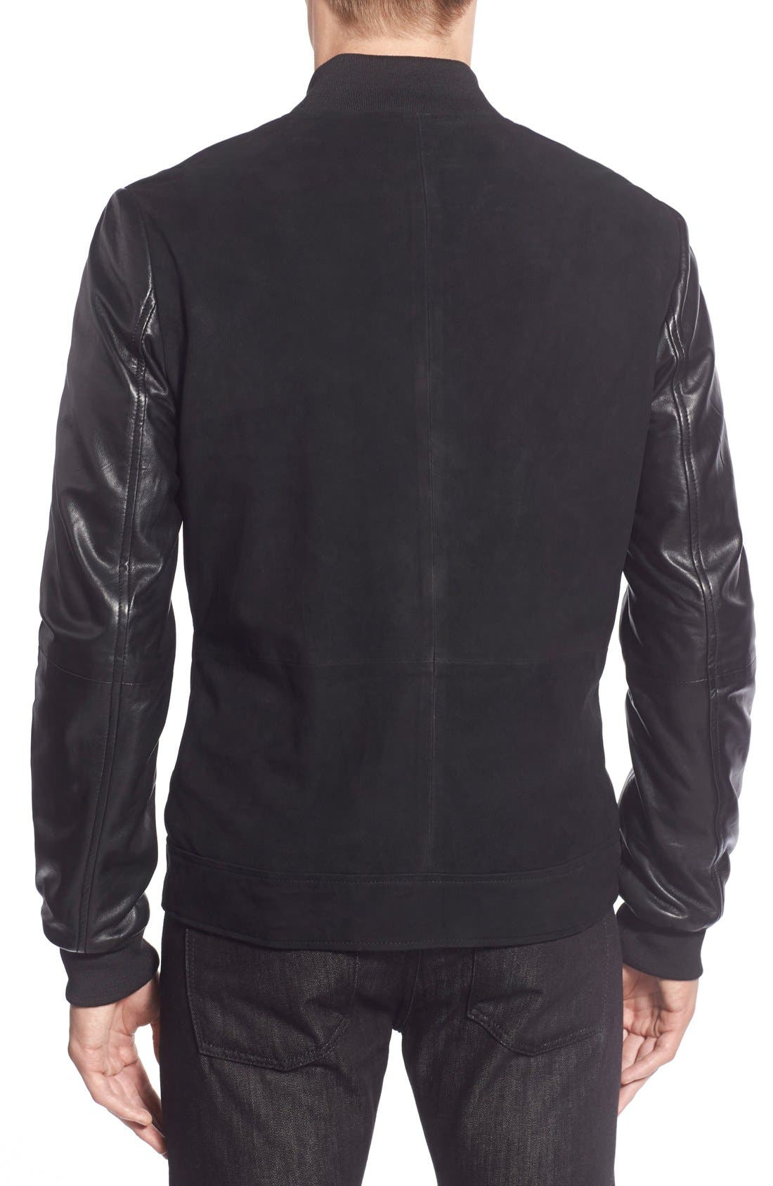 Suede Varsity Jacket with Leather Sleeves,                             Alternate thumbnail 2, color,                             001
