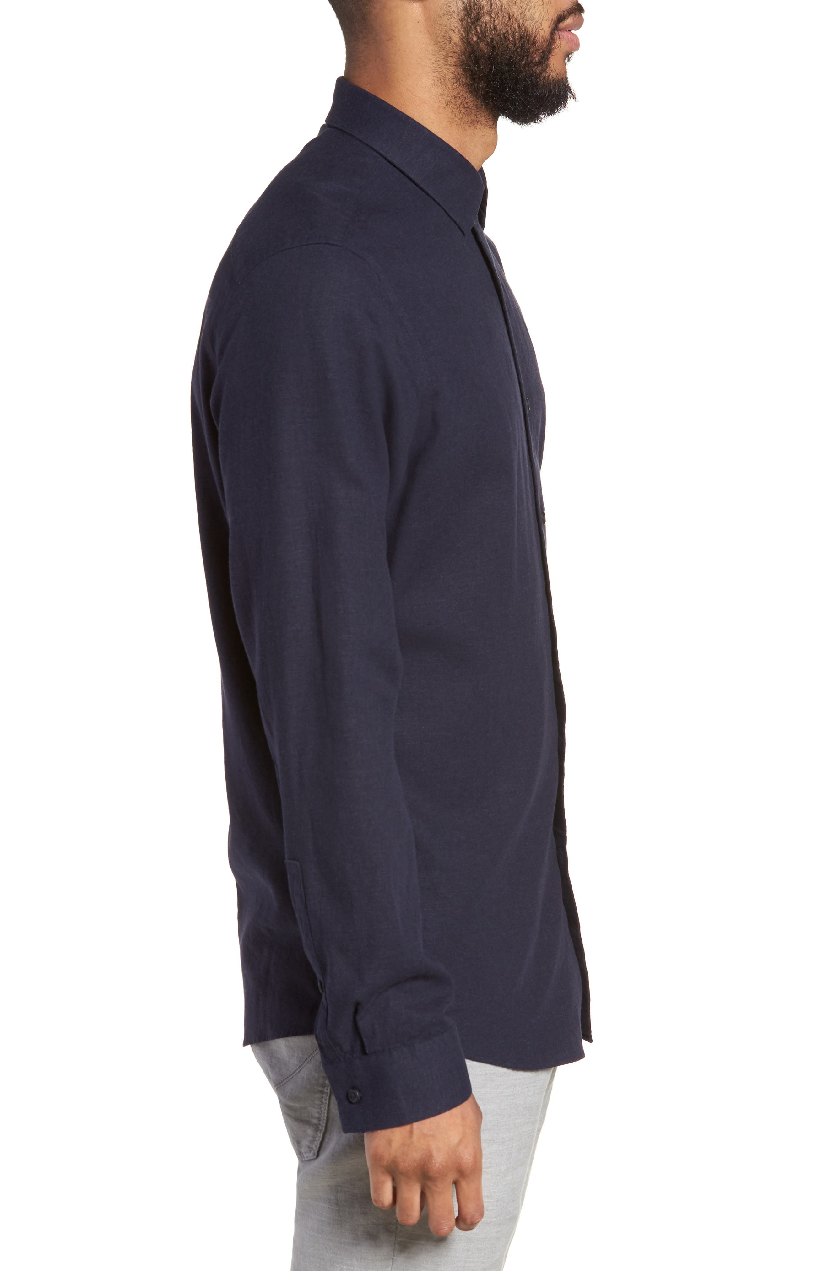 Linen Blend Sport Shirt,                             Alternate thumbnail 9, color,