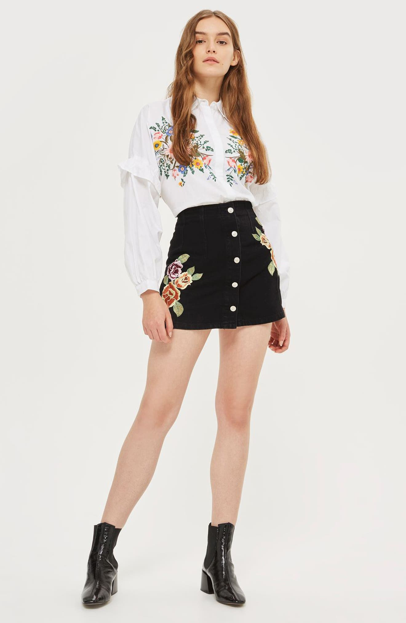 Embroidered Button Front Denim Skirt,                             Alternate thumbnail 4, color,                             001