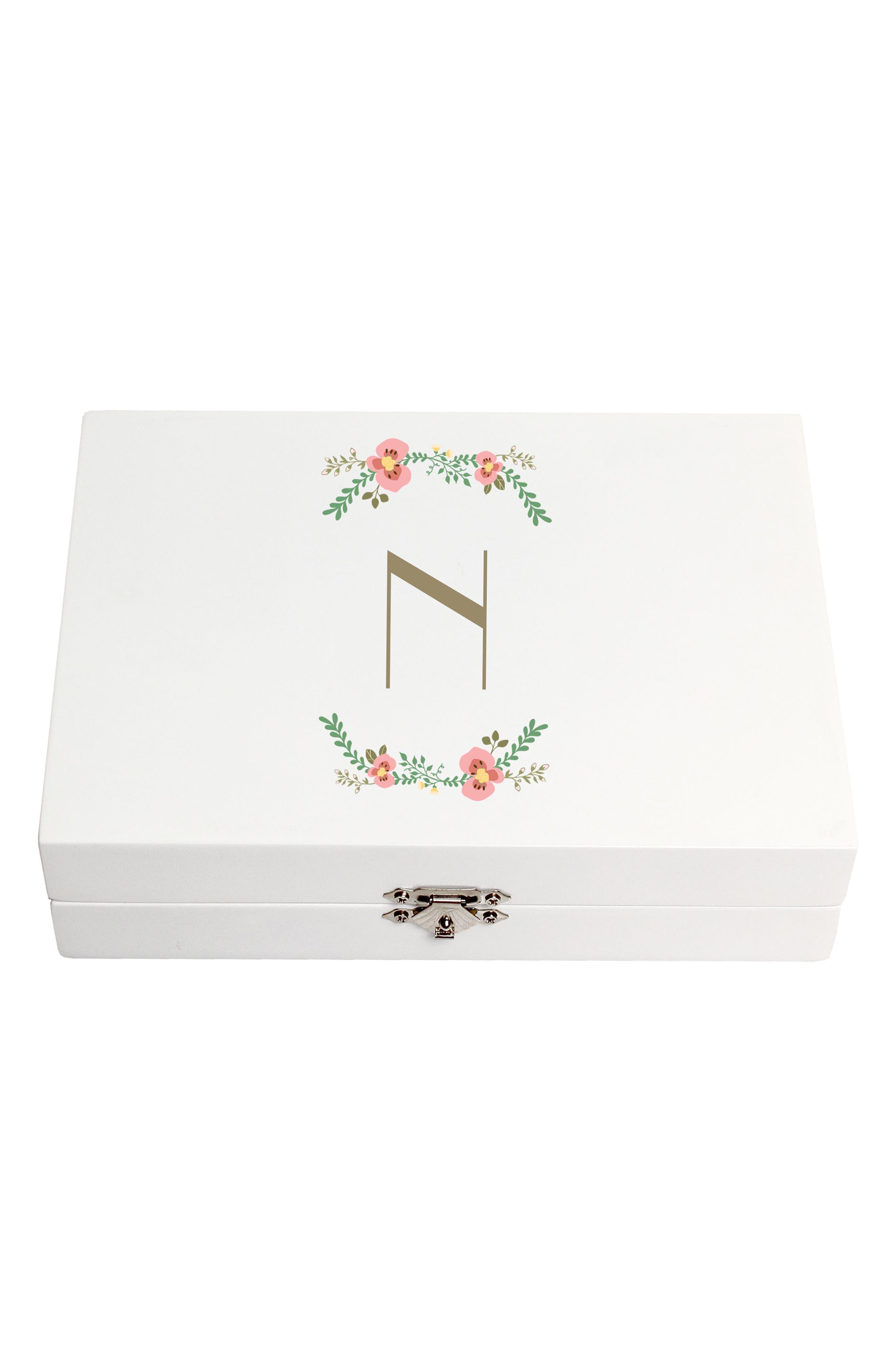 Monogram Floral Wedding Ring Box,                             Main thumbnail 14, color,