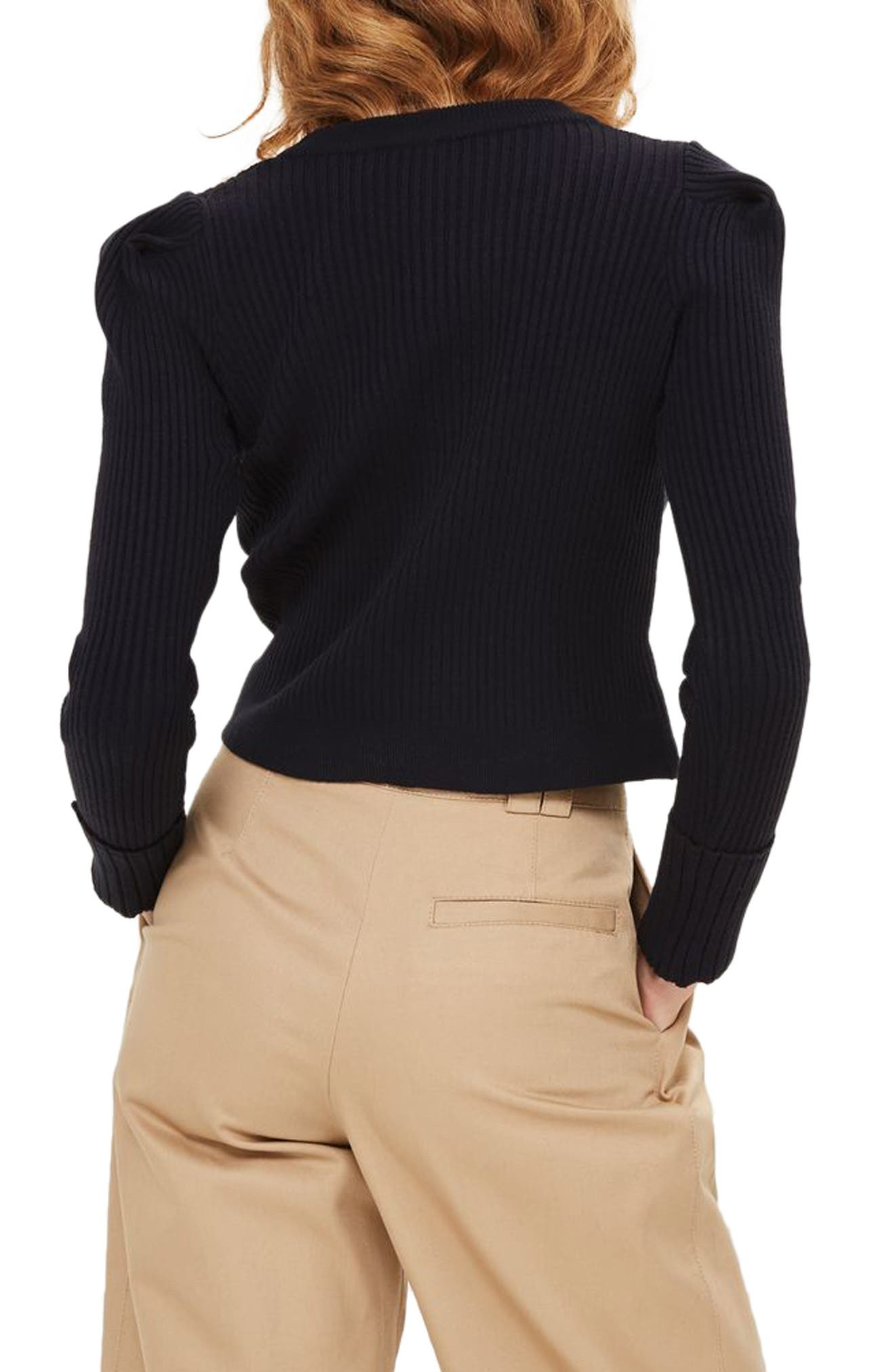 TOPSHOP,                             Puff Sleeve Ribbed Sweater,                             Alternate thumbnail 2, color,                             410