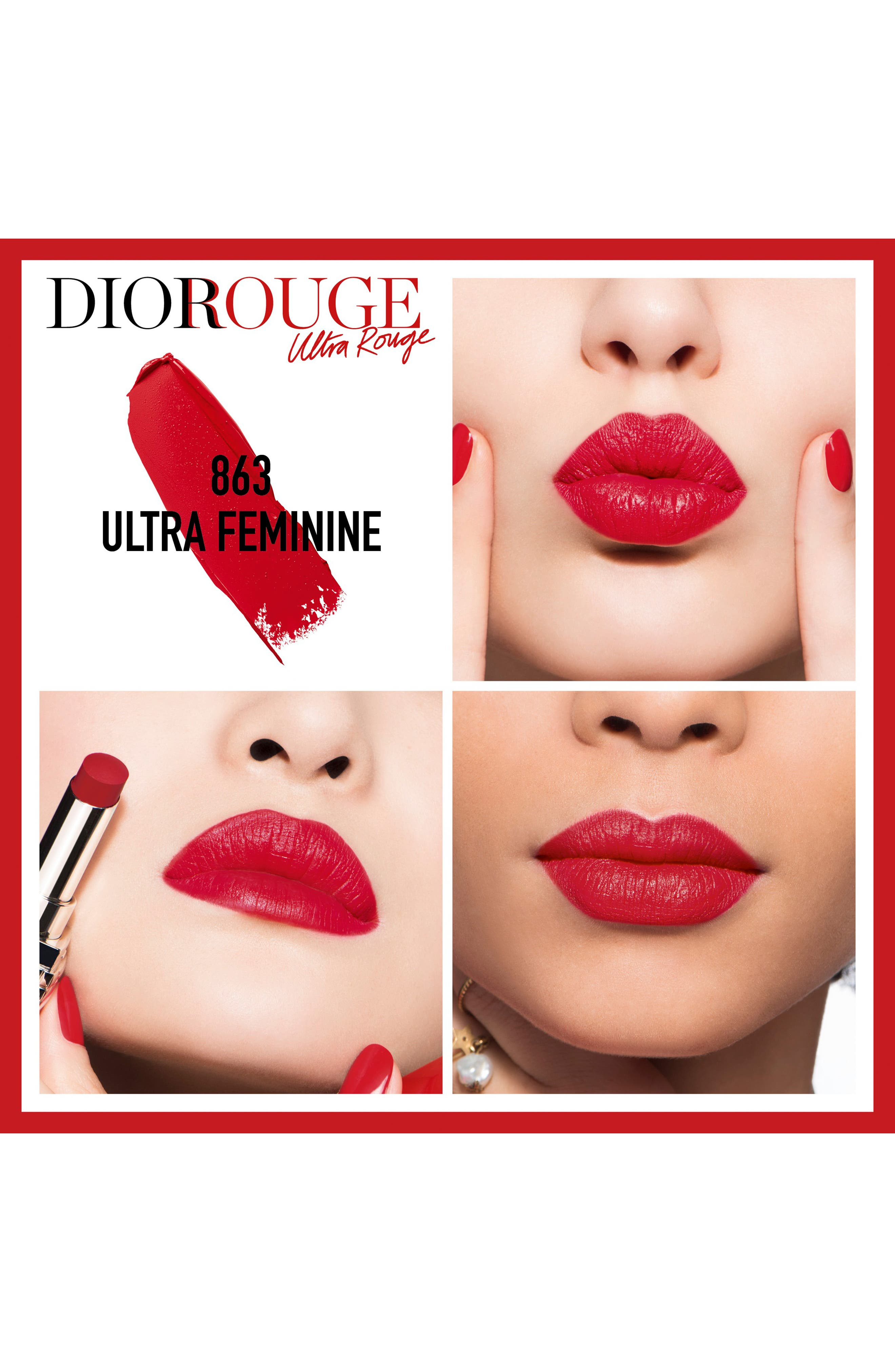 Rouge Dior Ultra Rouge Pigmented Hydra Lipstick,                             Alternate thumbnail 2, color,                             863 ULTRA FEMININE