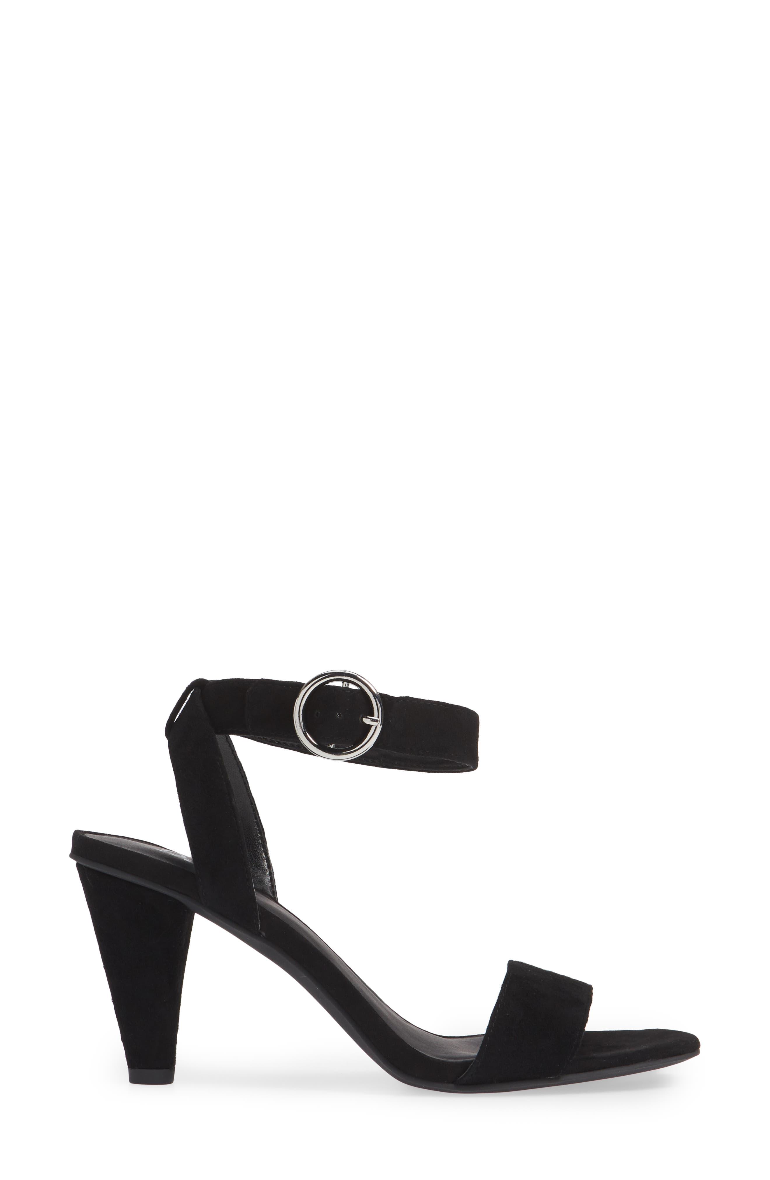 Cleo Cone Heel Sandal,                             Alternate thumbnail 3, color,                             BLACK SUEDE