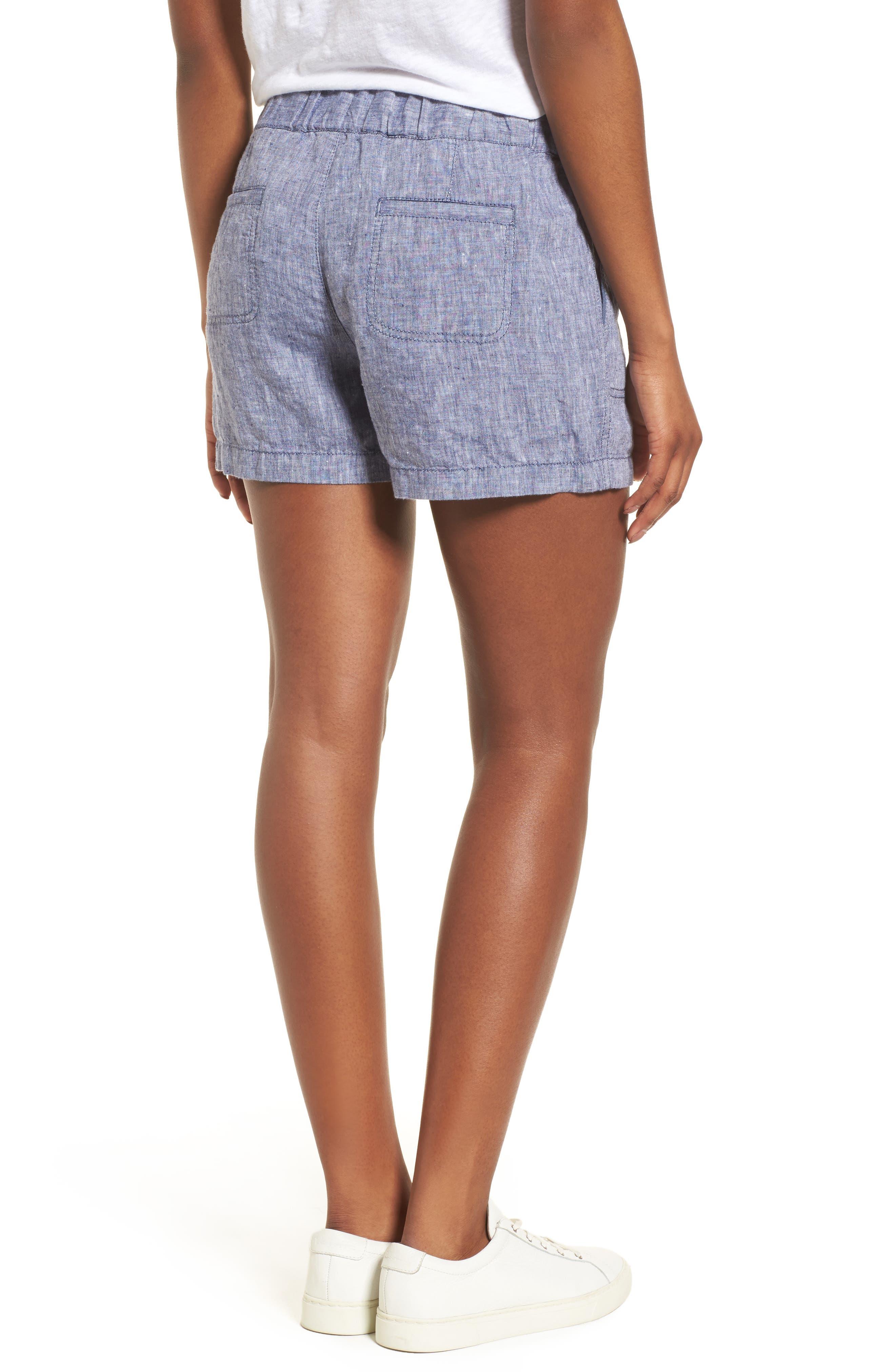 Linen Shorts,                             Alternate thumbnail 2, color,                             NAVY CROSSDYE