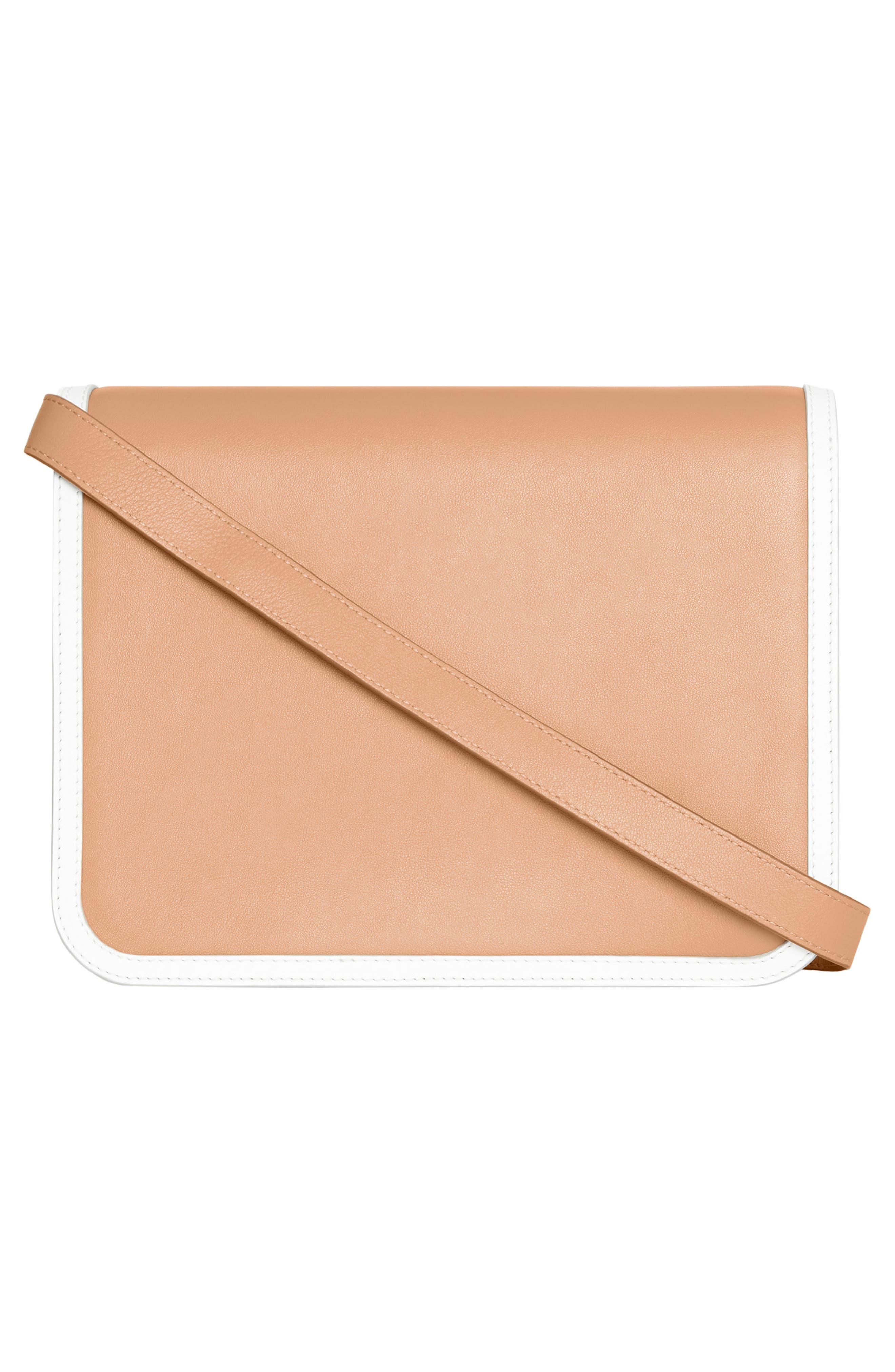 BURBERRY,                             Medium Two-Tone Leather TB Bag,                             Alternate thumbnail 2, color,                             CHALK WHITE/ LIGHT CAMEL